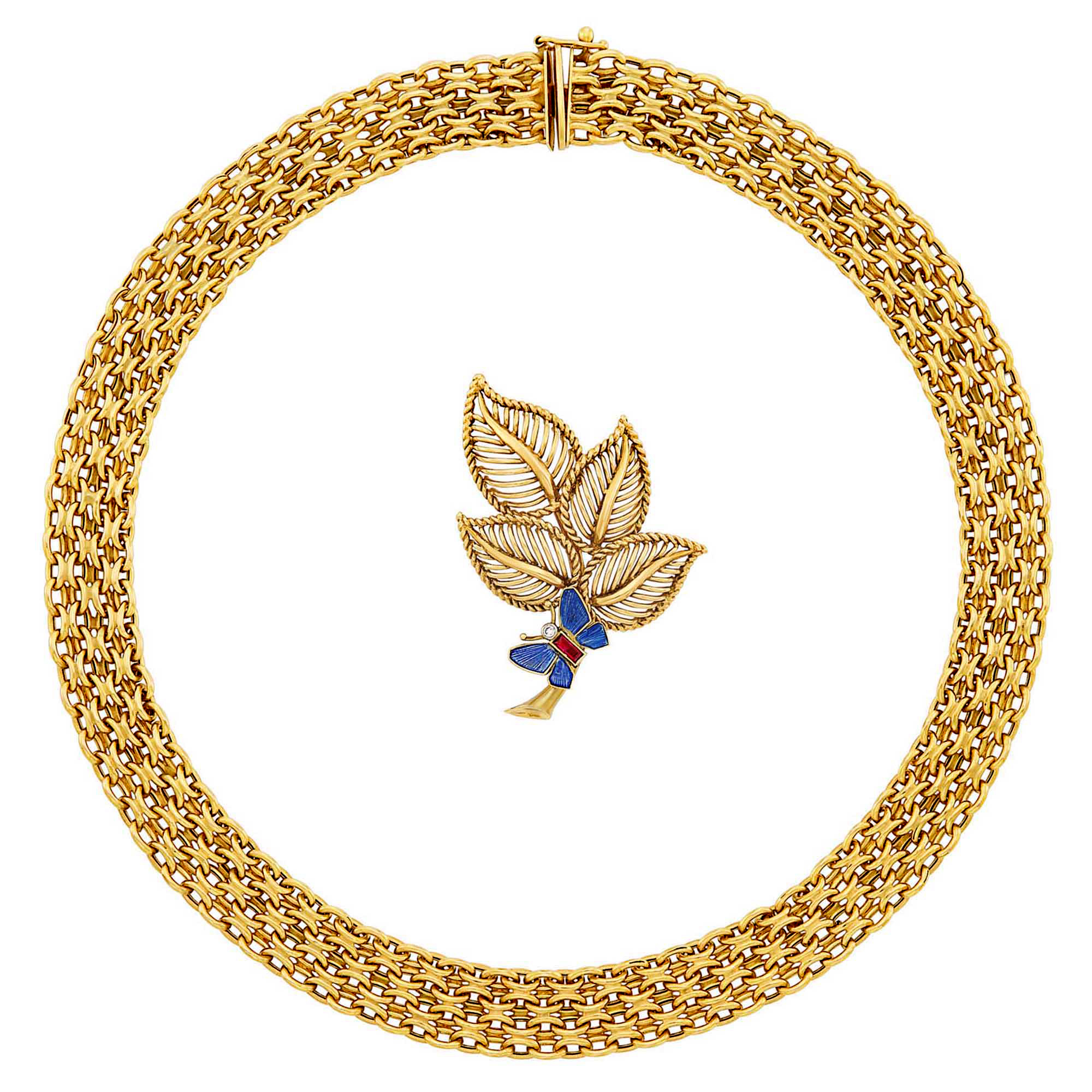 Lot image - Gold, Enamel, Ruby and Diamond Leaf Brooch, Cartier, London, and Gold Necklace