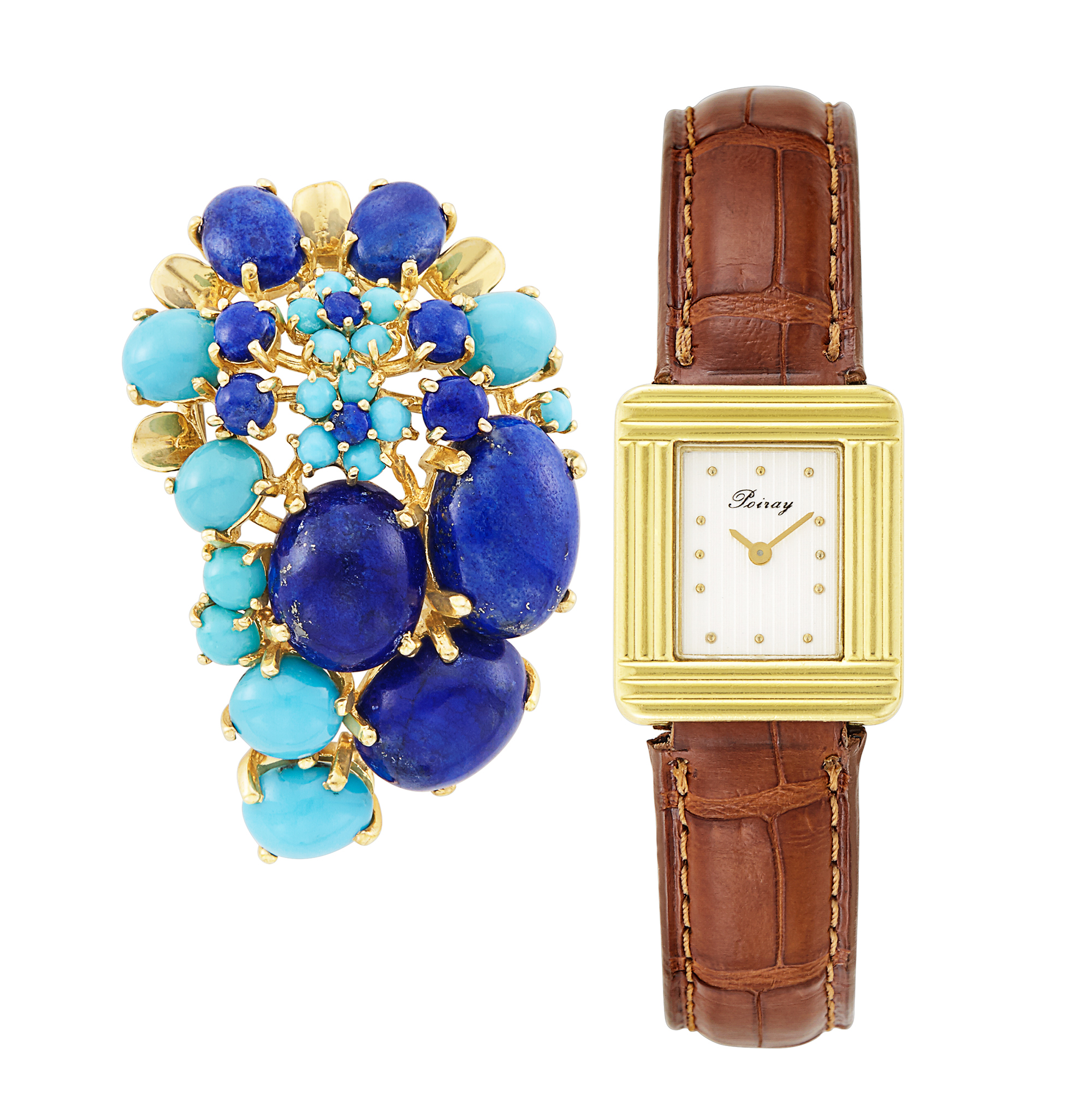 Lot image - Gold Wristwatch, Poiray, and Gold, Lapis and Turquoise Clip-Brooch