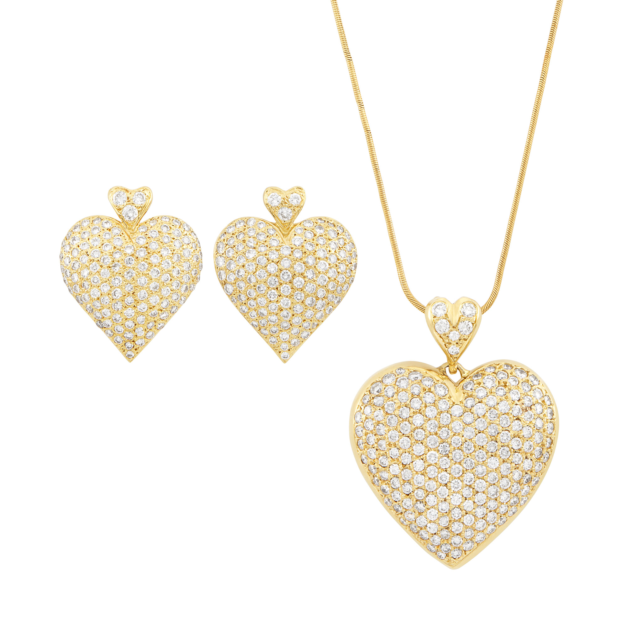 Lot image - Gold and Diamond Heart Pendant with Snake Chain Necklace and Pair of Earrings
