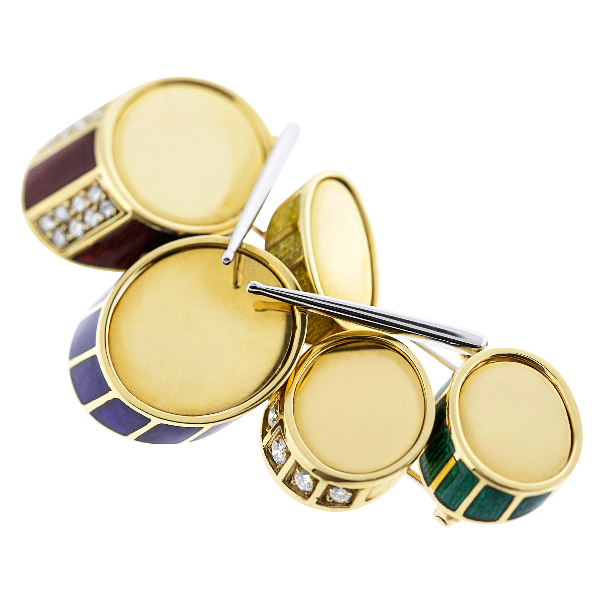 Lot image - Gold, Enamel and Diamond Drum-Set Brooch