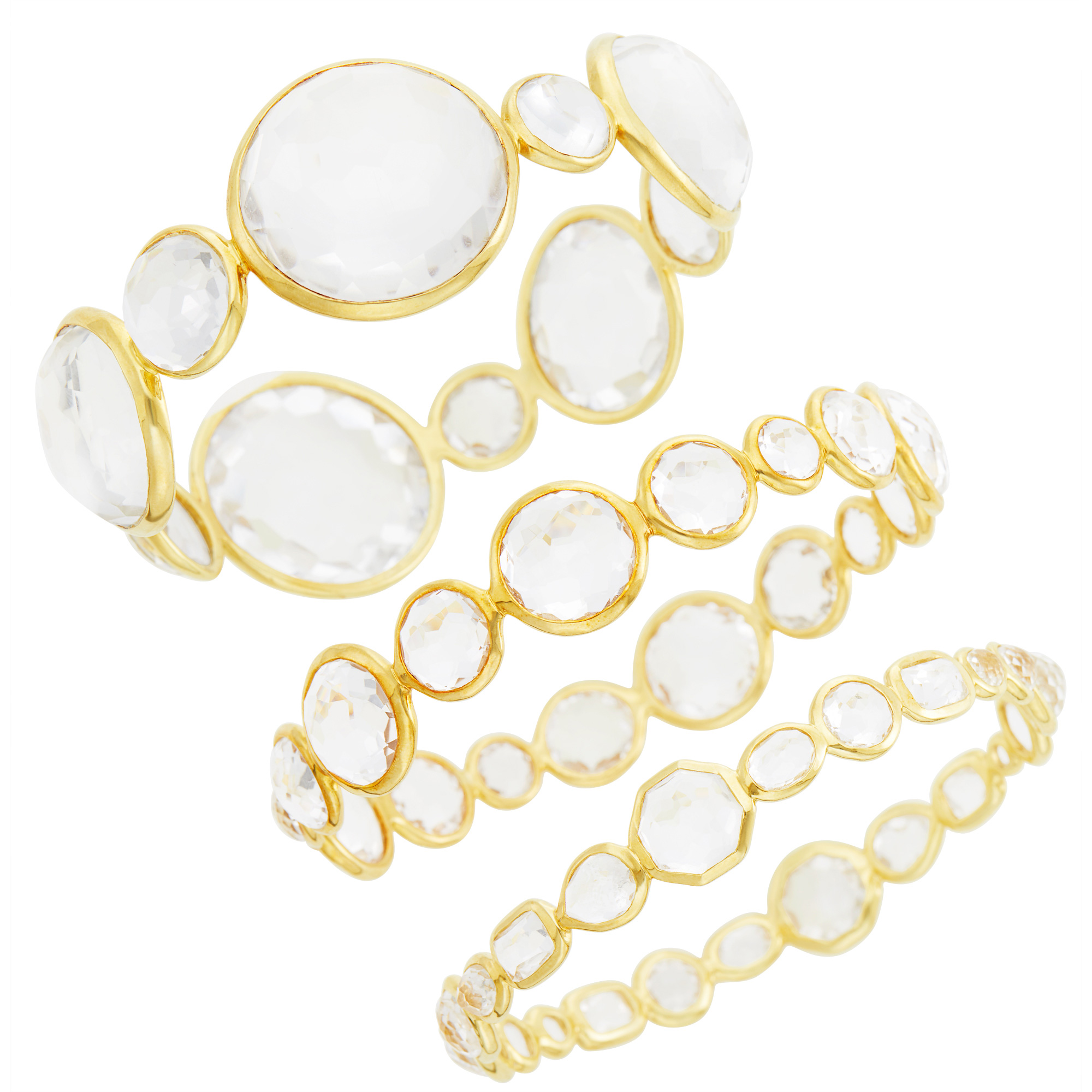 Lot image - Ippolita Three Gold and Rock Crystal Hero Gelato, Rock Candy and Jumbo Bangle Bracelets