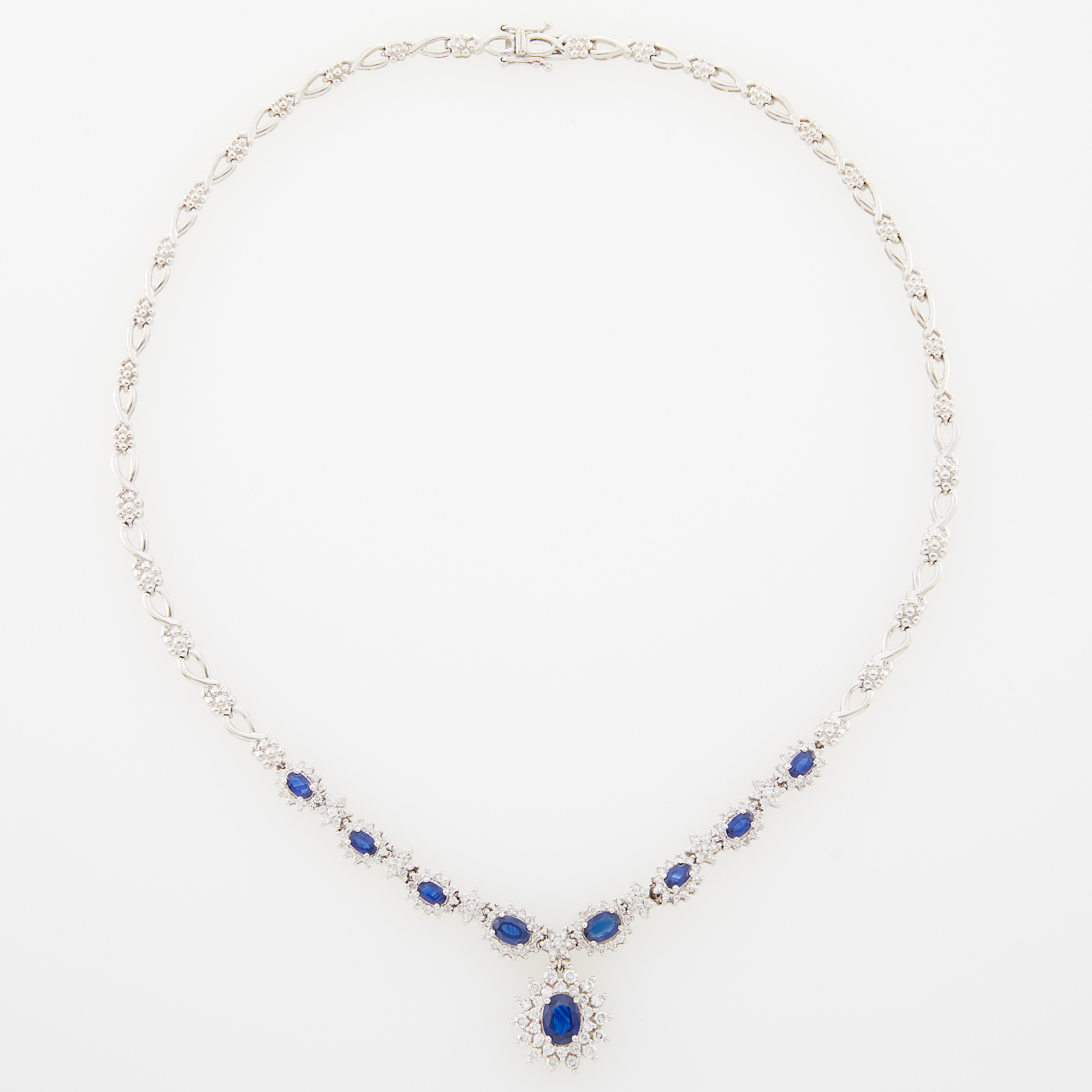 Lot image - White Gold, Sapphire and Diamond Necklace
