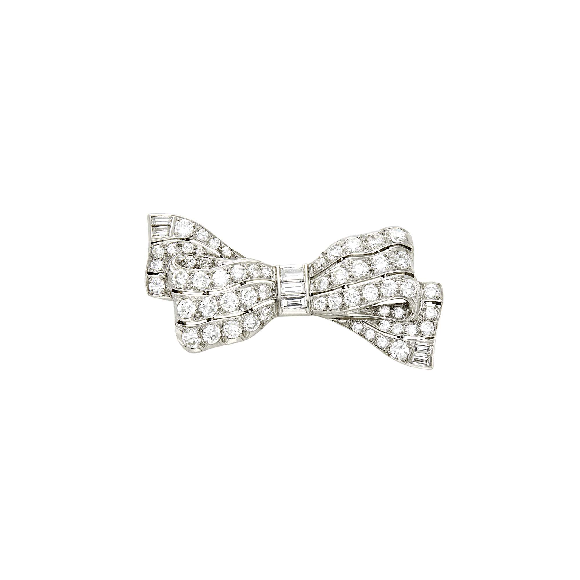 Lot image - Platinum and Diamond Bow Pin