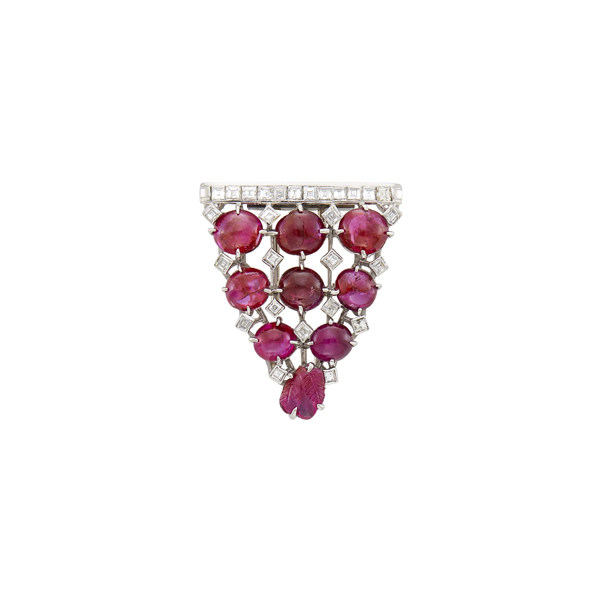 Lot image - Platinum, Cabochon and Carved Ruby and Diamond Clip