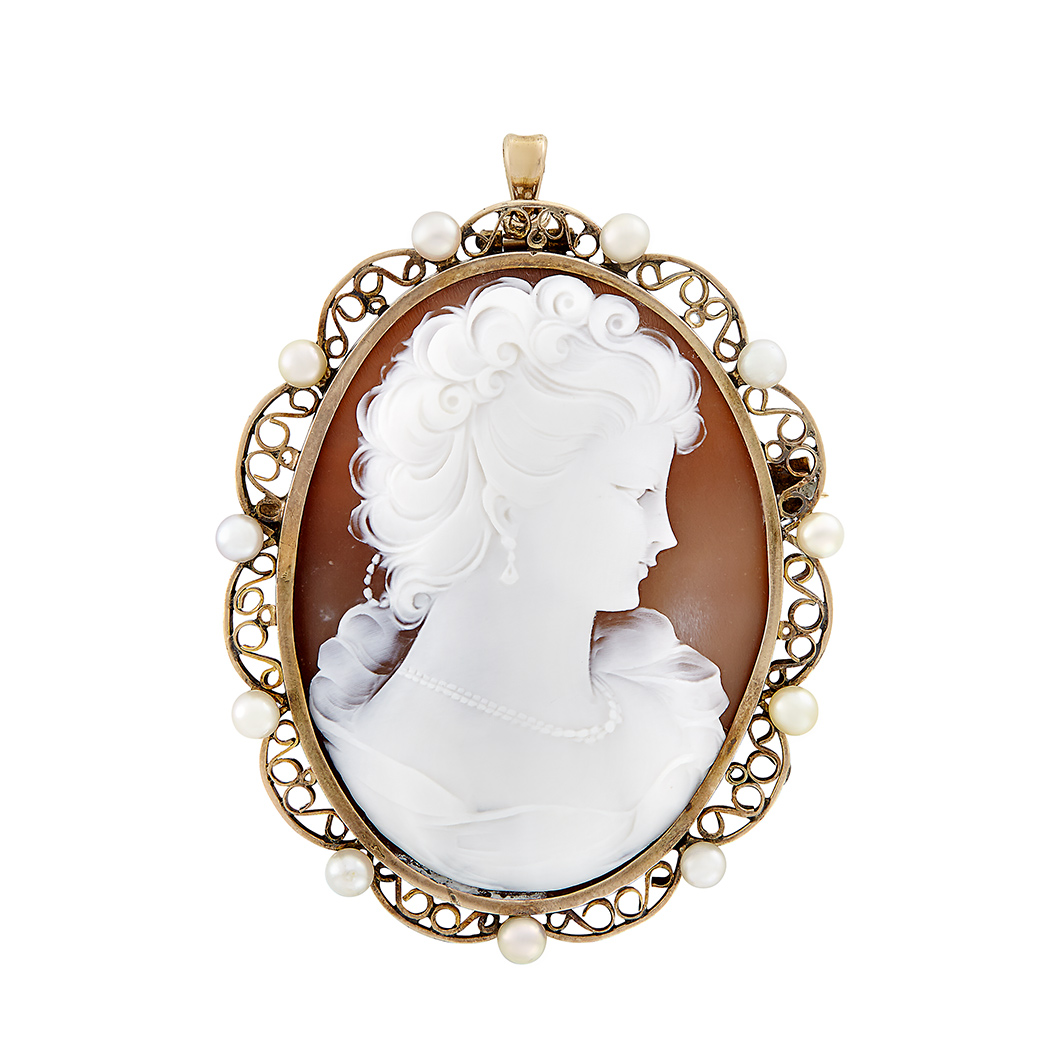 Lot image - Gold, Pearl and Shell Cameo Pendant-Brooch