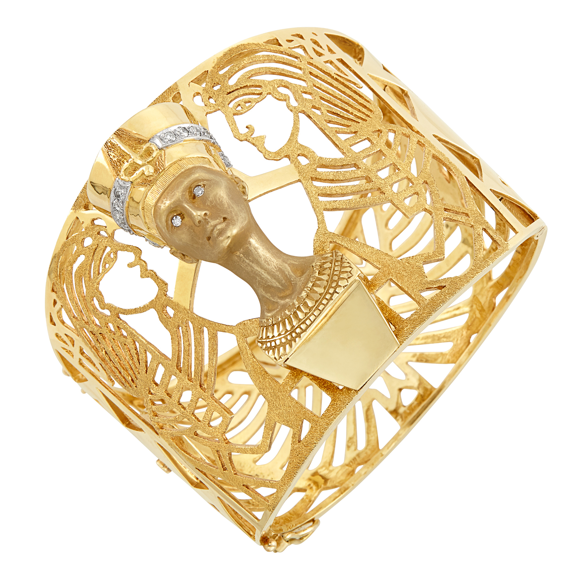 Lot image - Gold and Diamond Pharoah Cuff Bangle Bracelet