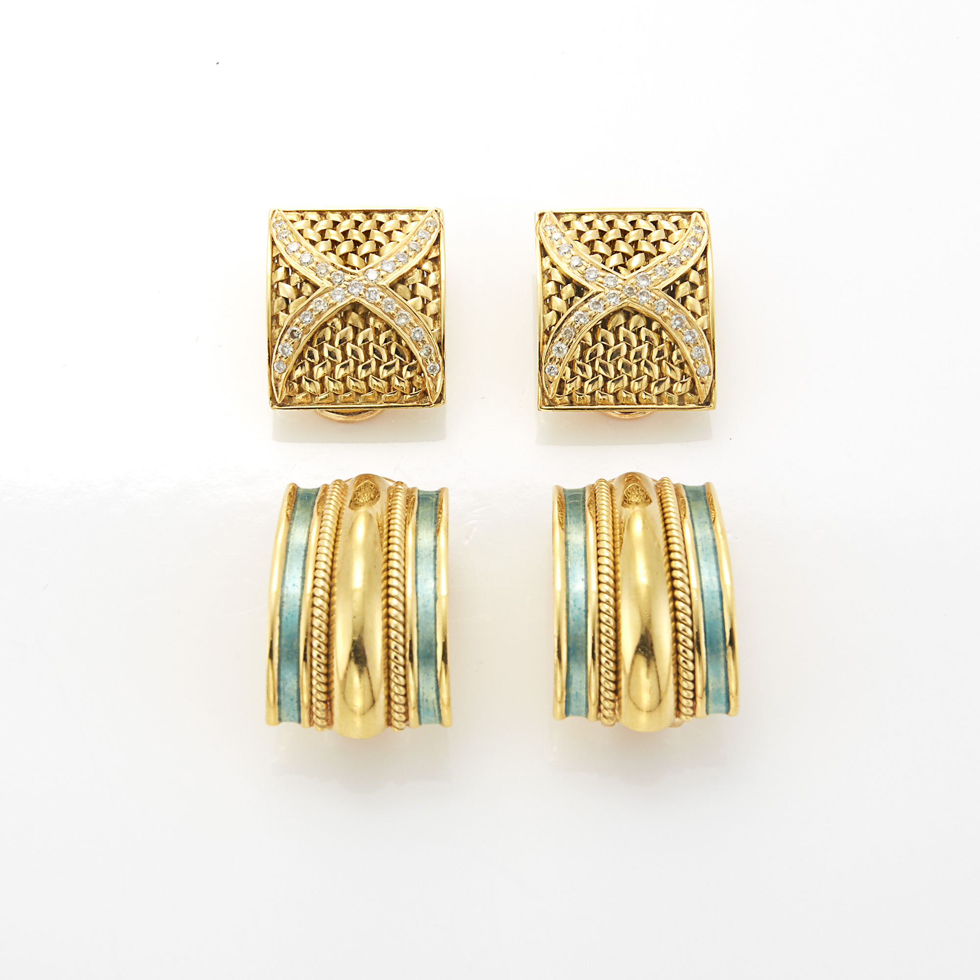 Lot image - Two Pairs of Gold, Enamel and Diamond Earclips