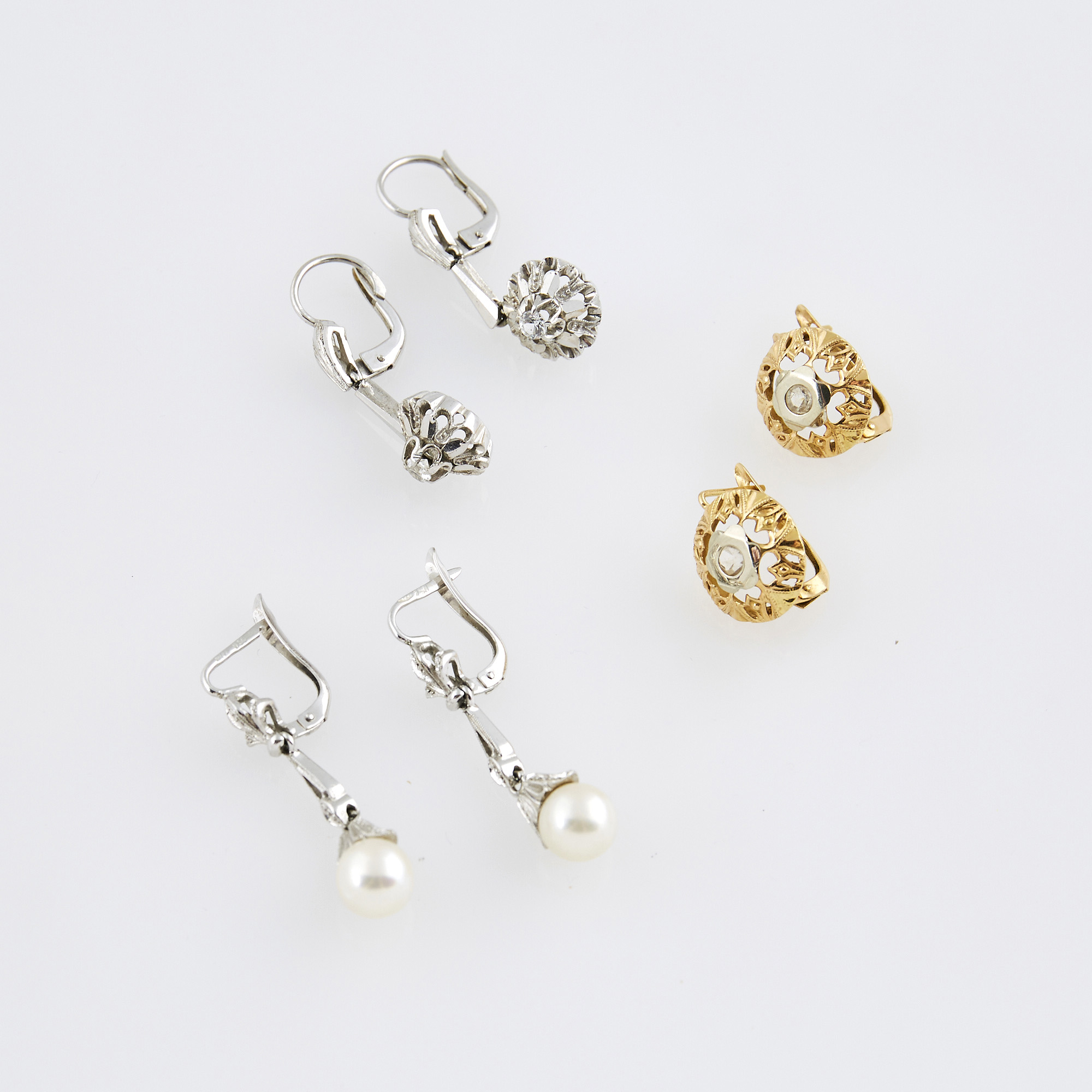 Lot image - Six Gold, Bead and Stone Earrings, 18K 8 dwt. all