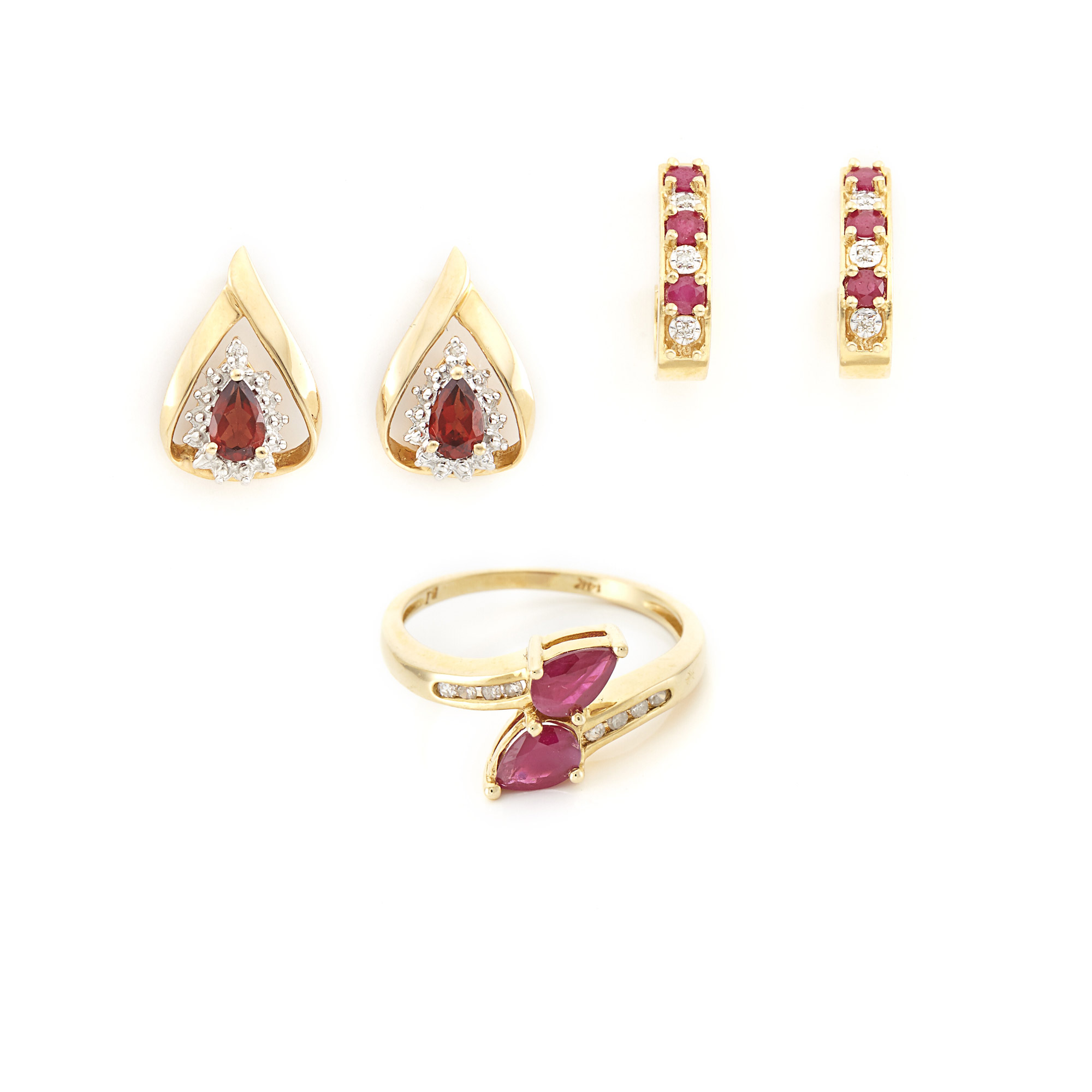 Lot image - Gold, Ruby and Diamond Ring and Pair of Earrings and Pair of Gold, Garnet and Diamond Earrings