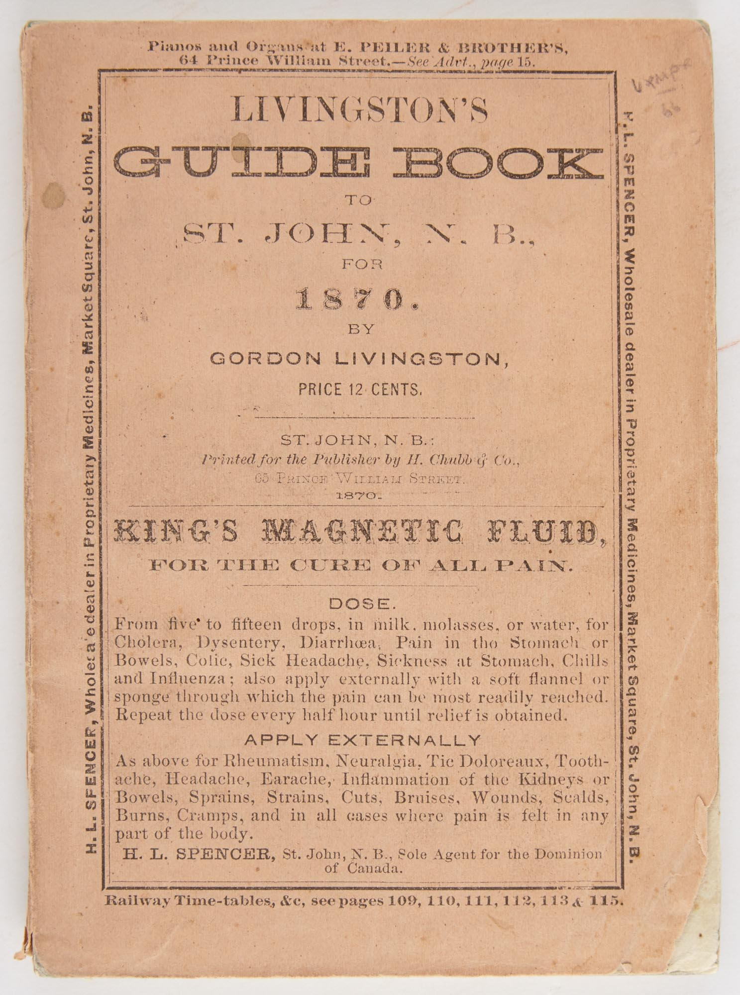 Lot image - LIVINGSTON, GORDON  Livingstons Guide Book to St. John and the St. John River with an account of the Fishing Grounds of New Brunswick.
