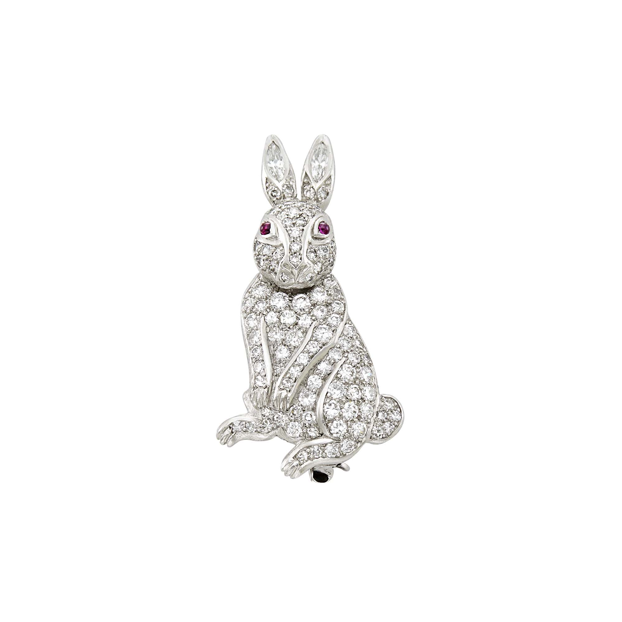 Lot image - Platinum, Diamond and Ruby Rabbit Pin