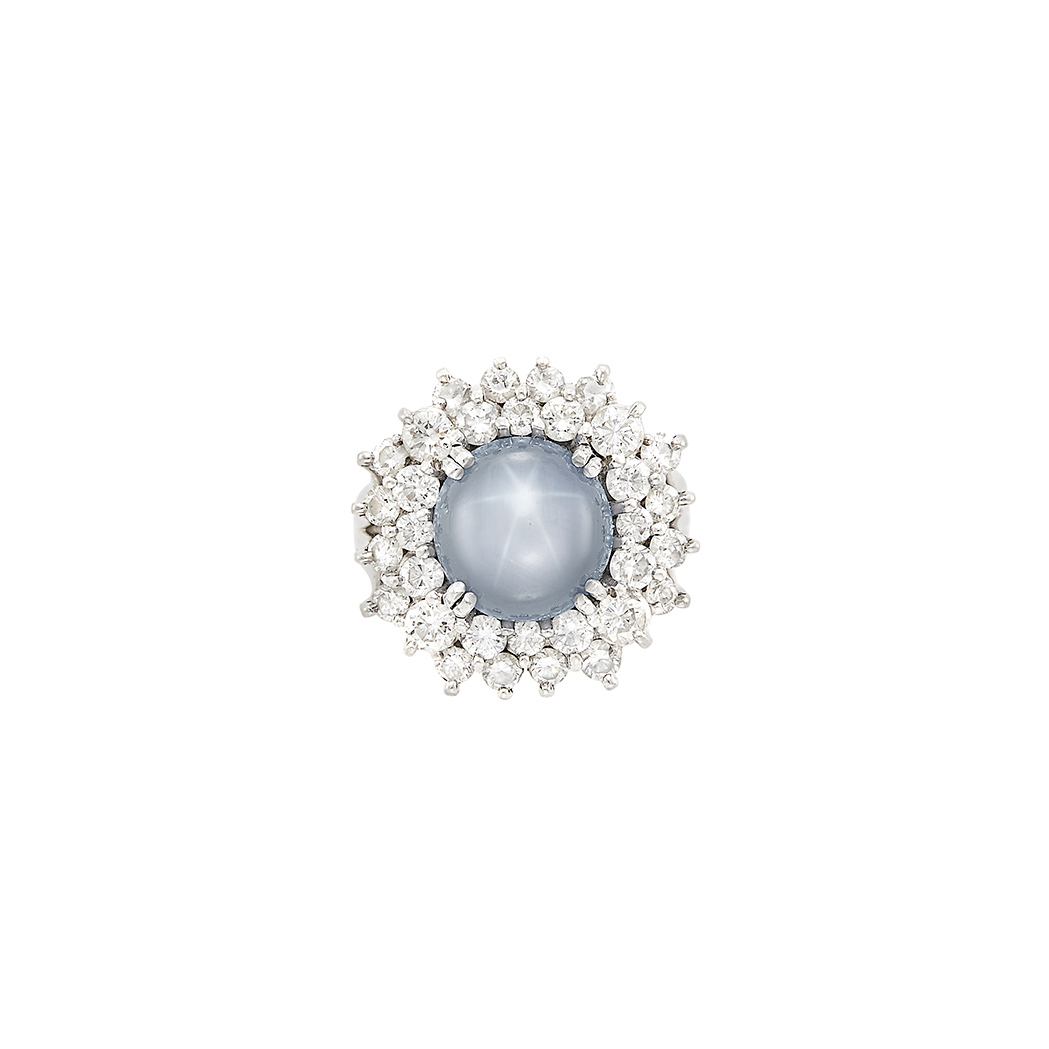 Lot image - Platinum, Gray Star Sapphire and Diamond Ring, Cartier