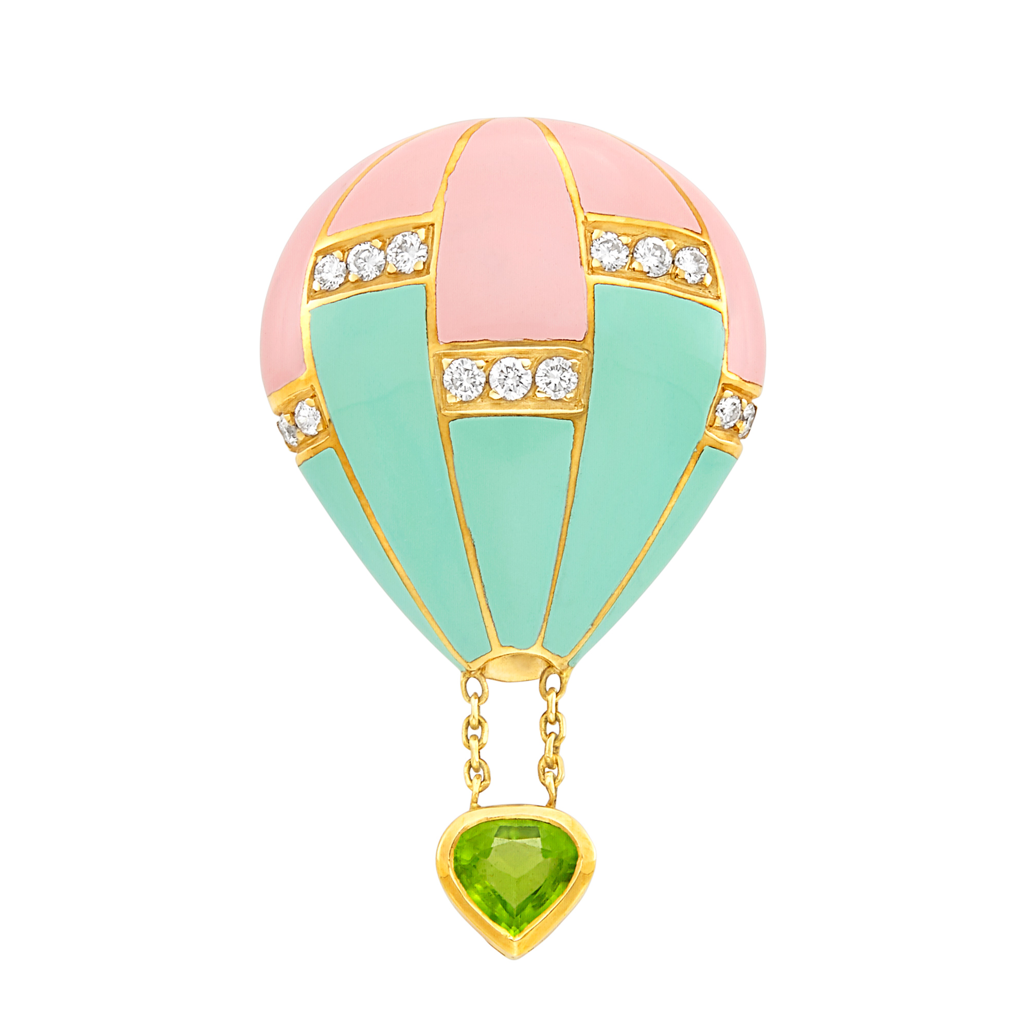 Lot image - Gold, Pink and Mint Green Enamel, Diamond and Peridot Hot Air Balloon Pin, Fred, France