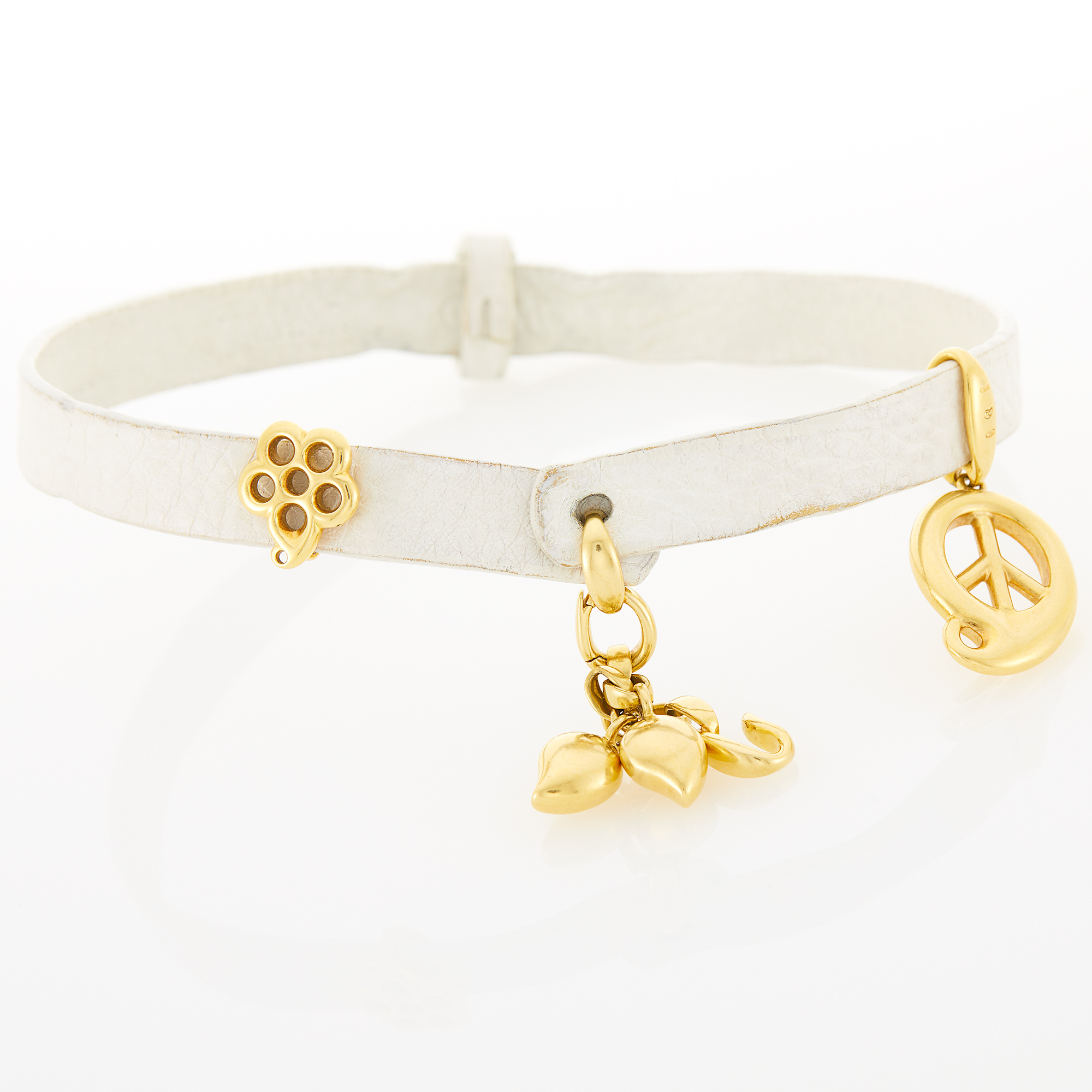Lot image - Tamara Comolli Gold Charm and White Leather Loopy Wrap Bracelet/Choker Combination