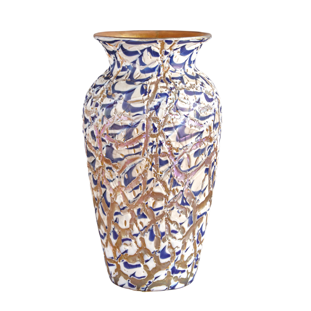 Lot image - Durand Art Glass Moorish Crackle Vase