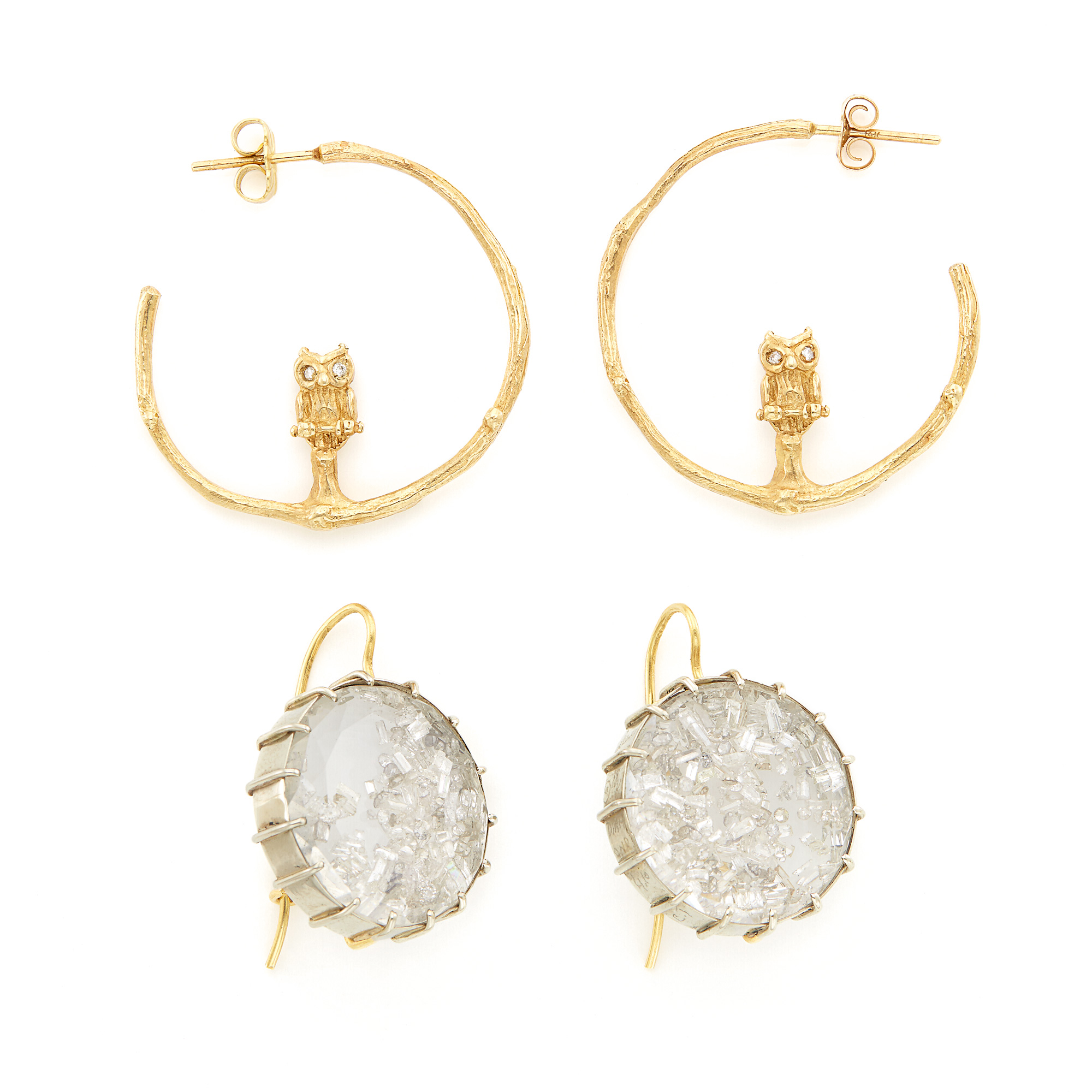 Lot image - Pair of White Gold, Crystal and Diamond Shake Earrings, Renee Lewis, and Pair of Gold Owl and Branch Hoop Earrings