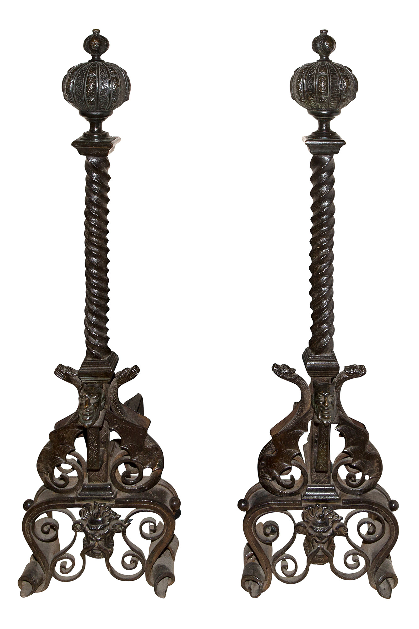 Lot image - Pair of Renaissance Style Wrought-Iron and Patinated Bronze Andirons