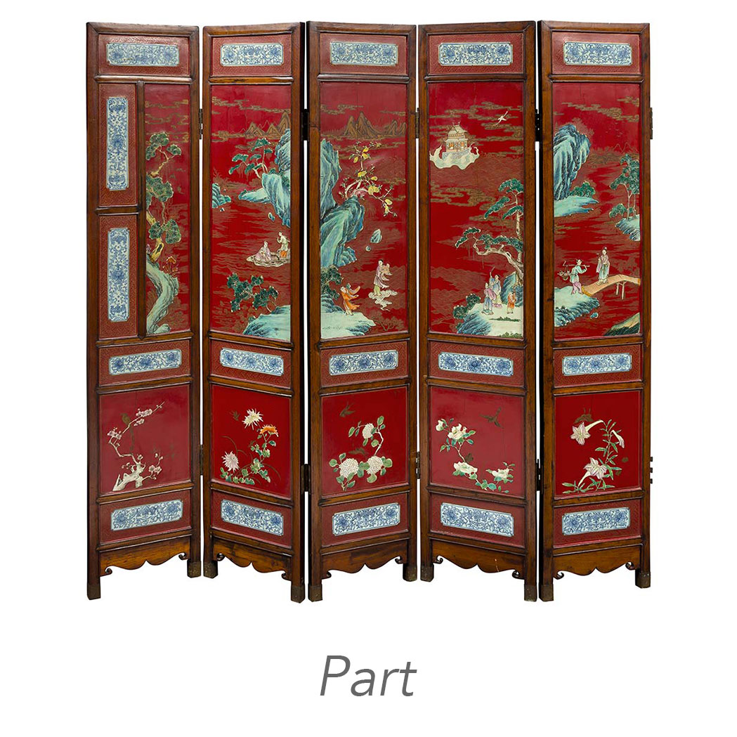 Lot image - Chinese Porcelain Inlaid Lacquered Hardwood Ten-Panel Folding Screen