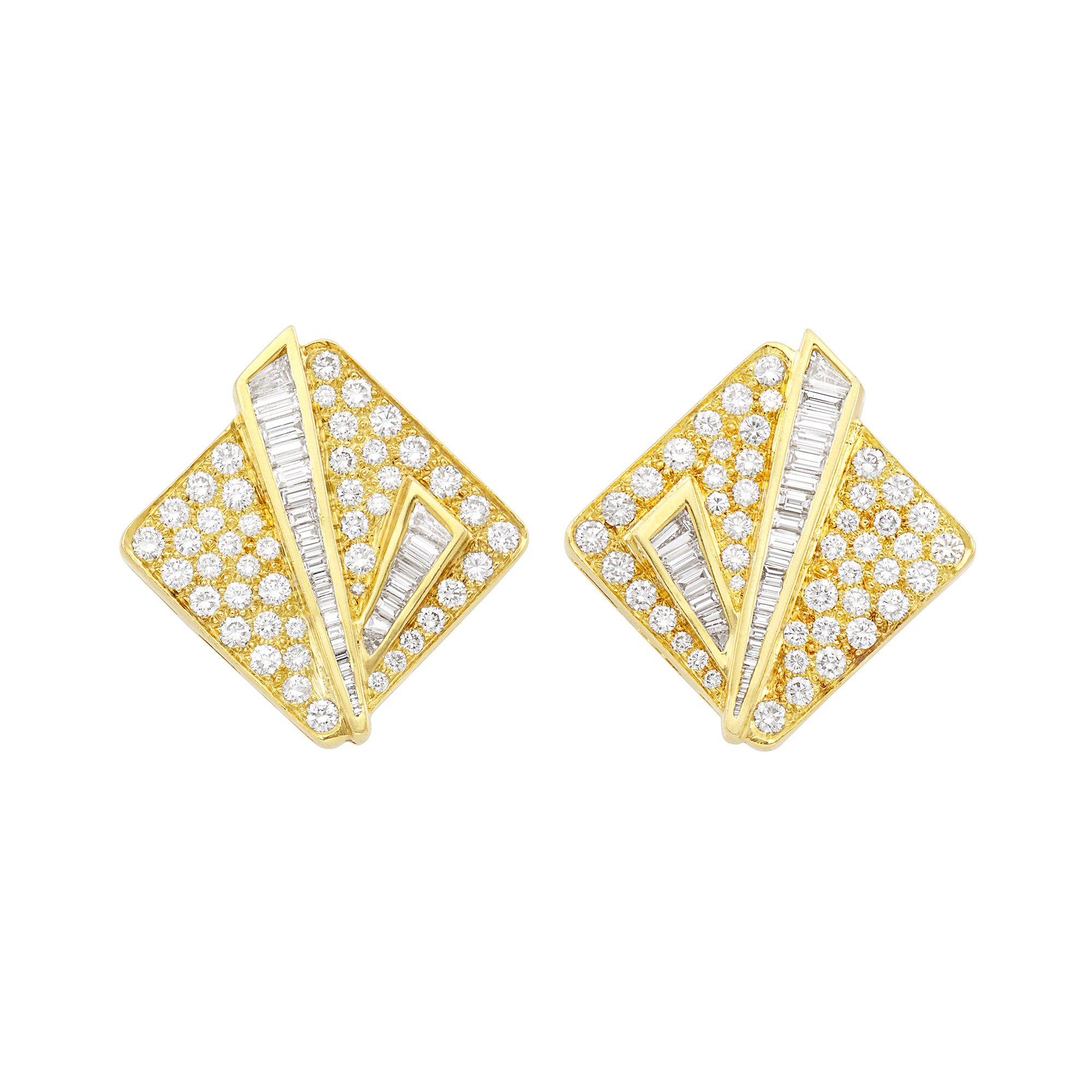 Lot image - Pair of Gold and Diamond Earclips, David Webb