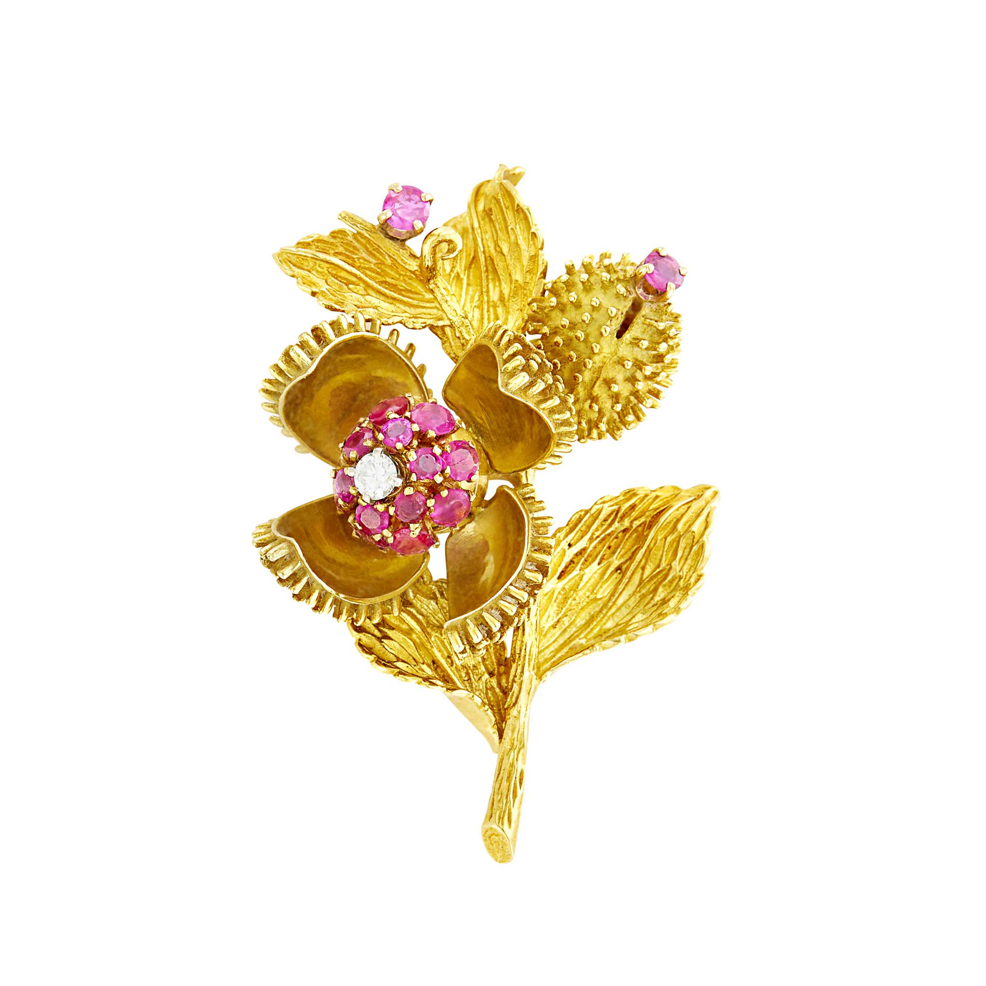 Lot image - Tiffany & Co. Gold, Ruby and Diamond Flower Brooch