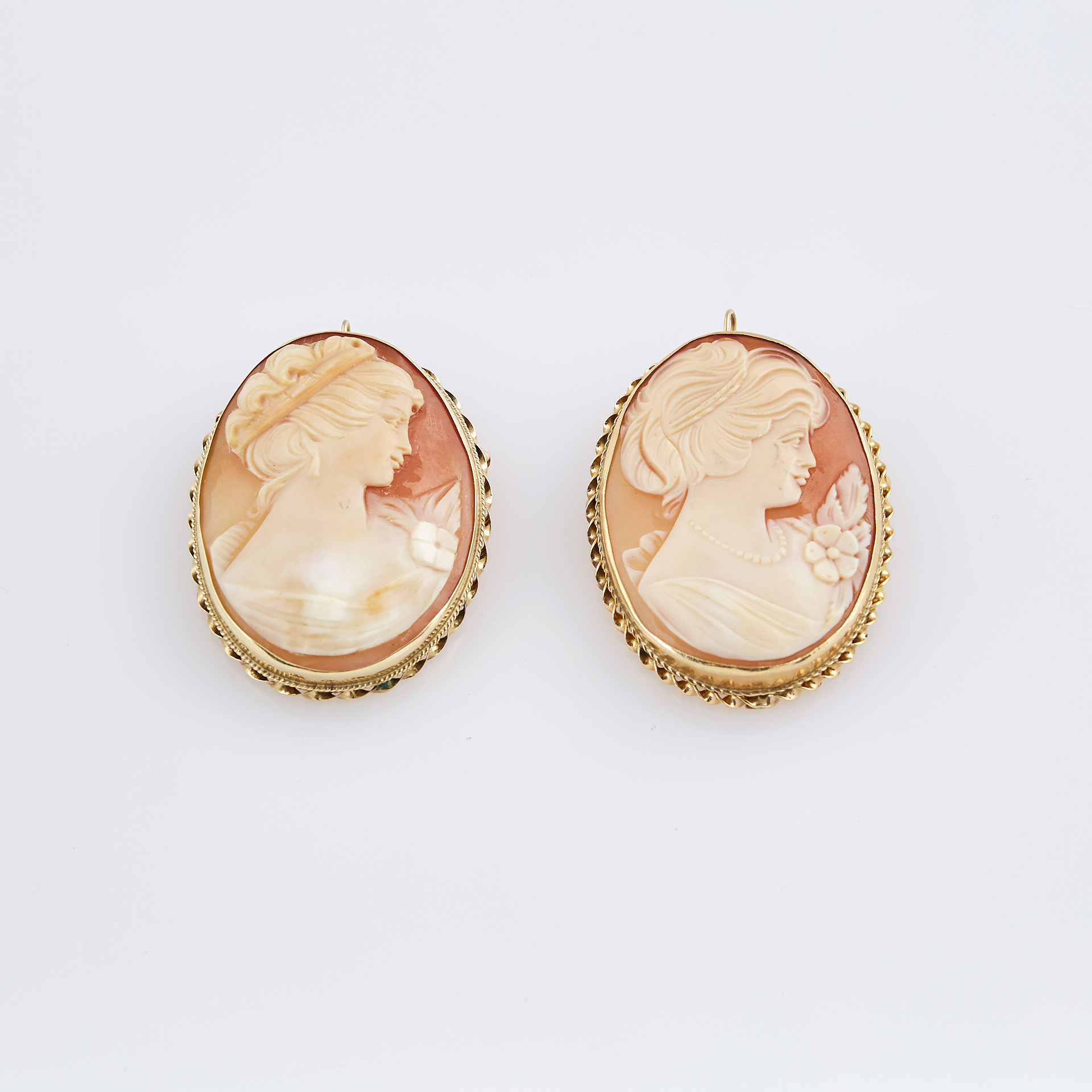 Lot image - Two Gold Cameo Pins, 14K
