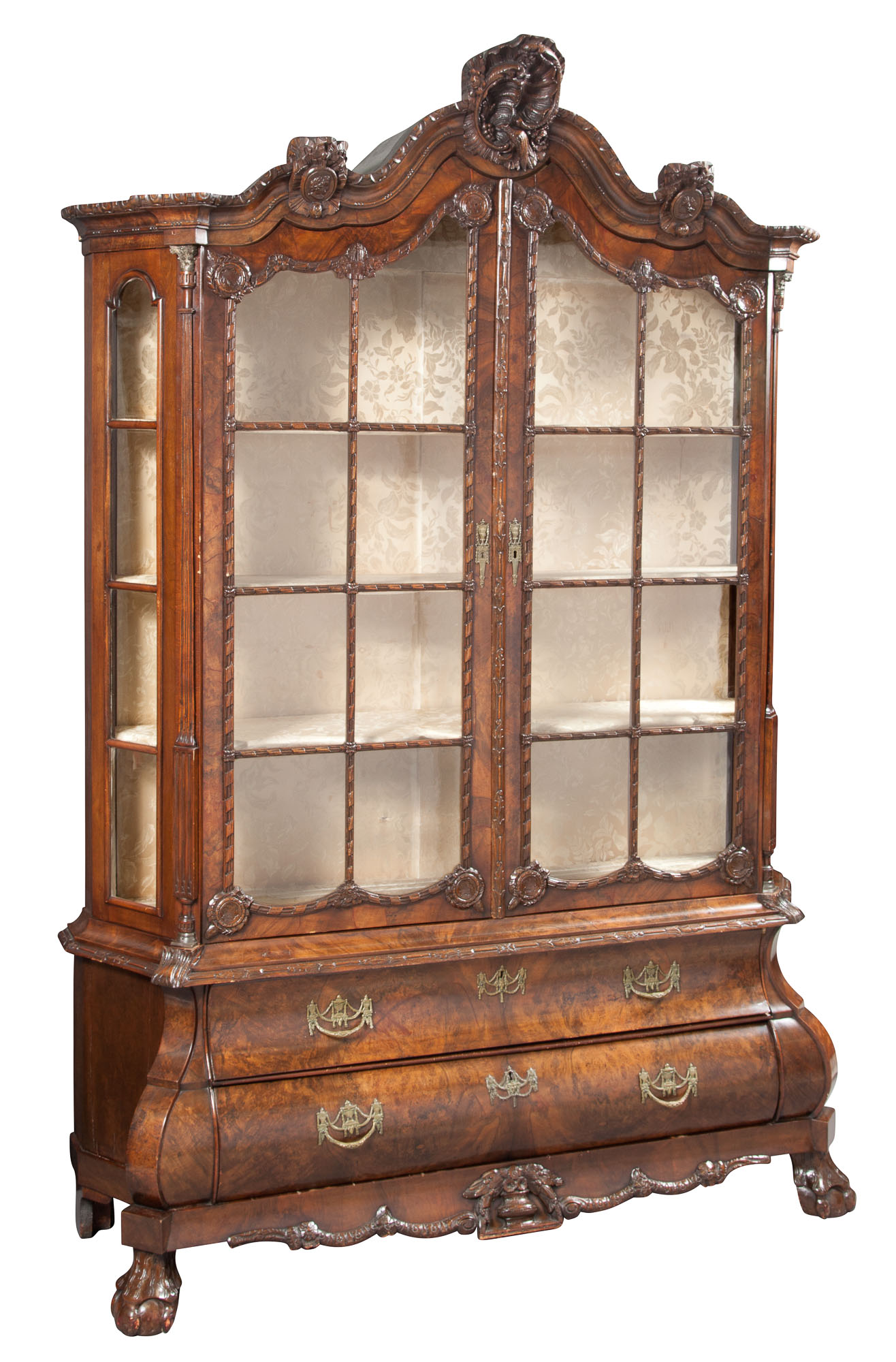 Lot image - Dutch Rococo Style Walnut Glass Door Cabinet