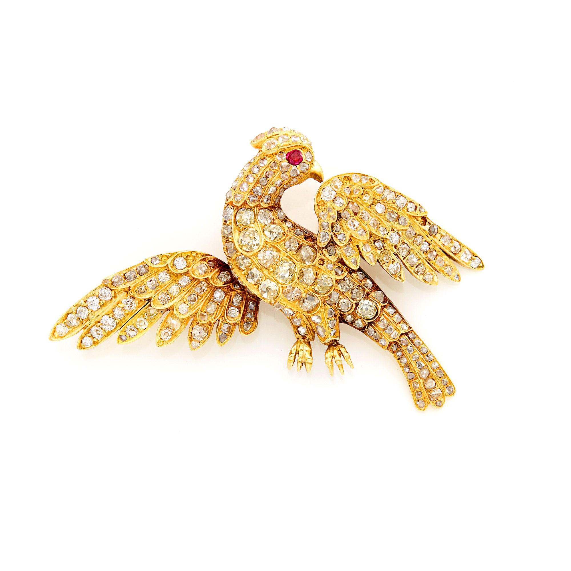 Lot image - Gold, Diamond and Ruby Bird Brooch, France