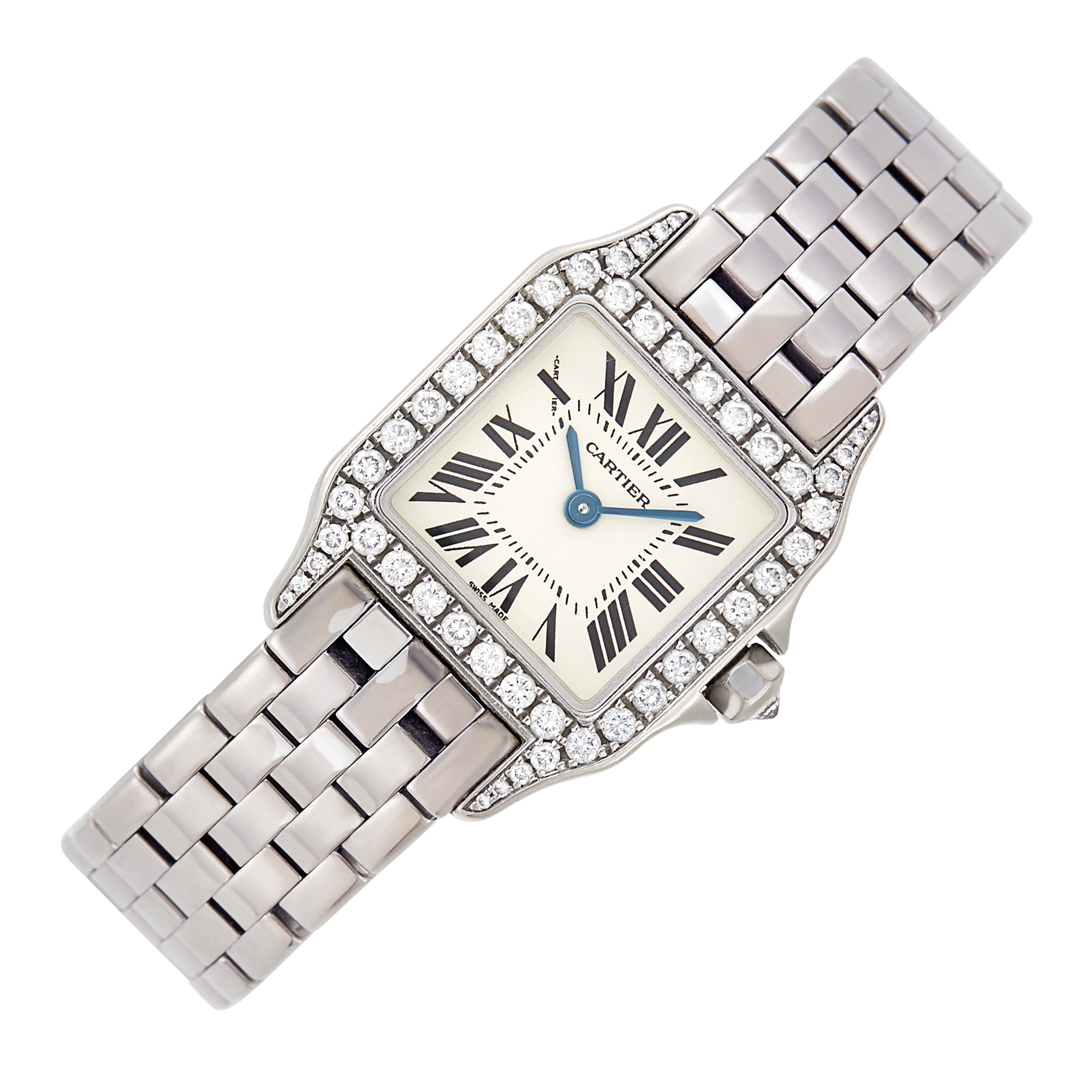 Lot image - Cartier White Gold and Diamond Panthère Wristwatch, Ref. 2700