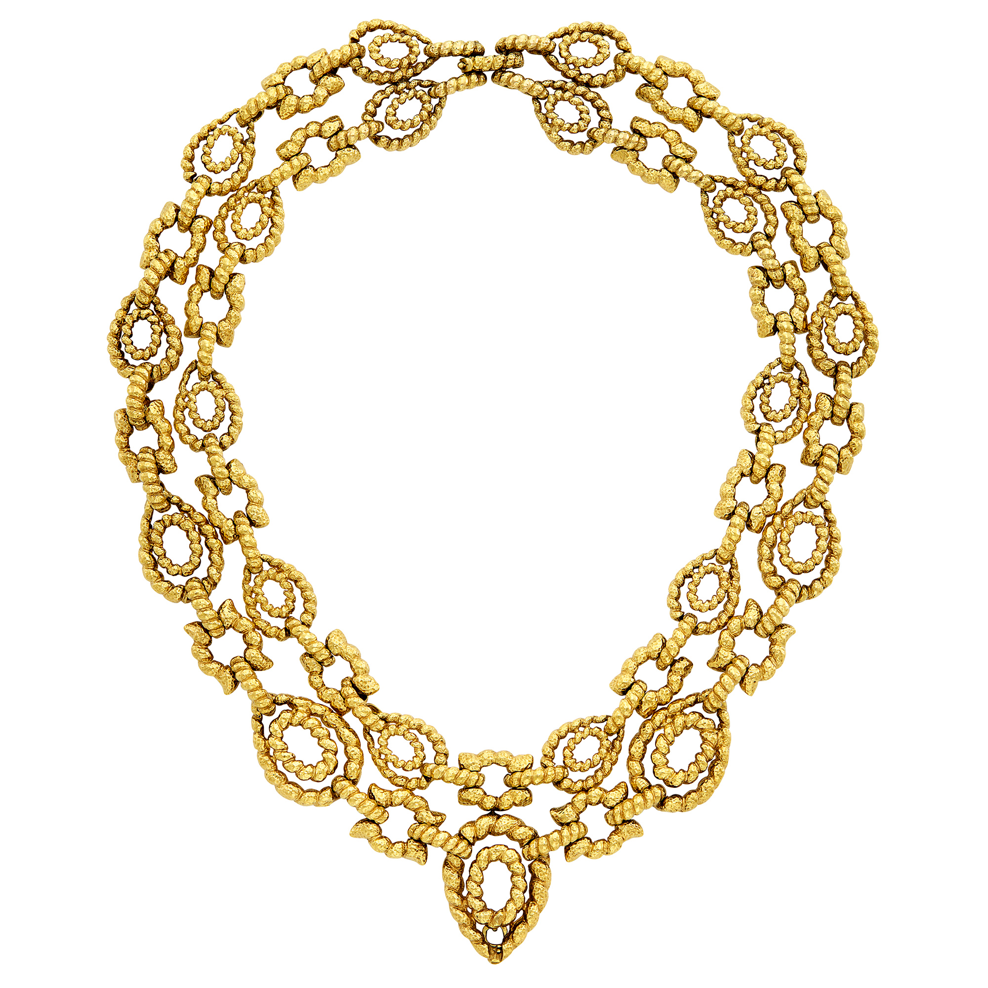 Lot image - Double Strand Hammered Gold Necklace, David Webb