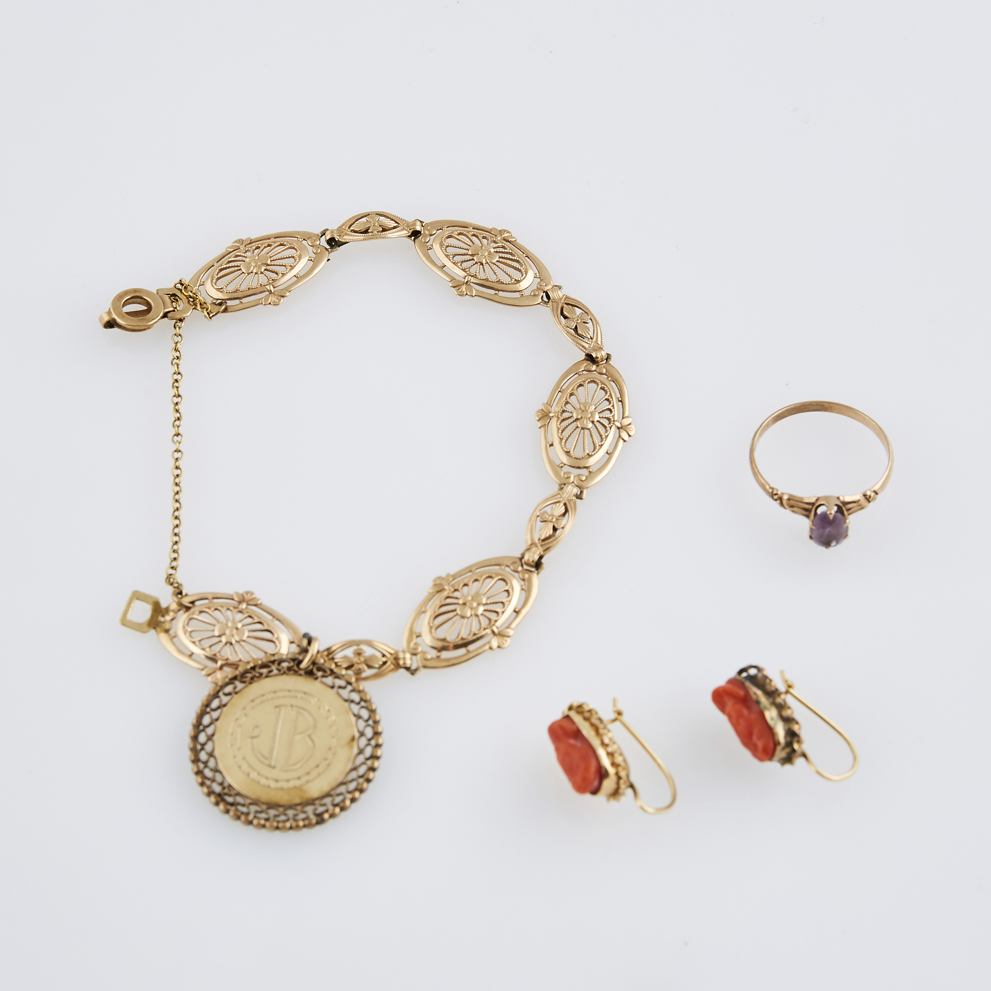 Lot image - Two Gold and Stone Earrings, Ring and Charm Bracelet with charm attached, 10K 9 dwt. all