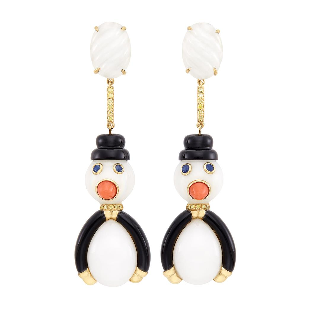 Lot image - Pair of Gold, White Agate, Black Onyx, Coral, Sapphire and Yellow Diamond Penguin Snowmen Pendant-Earclips