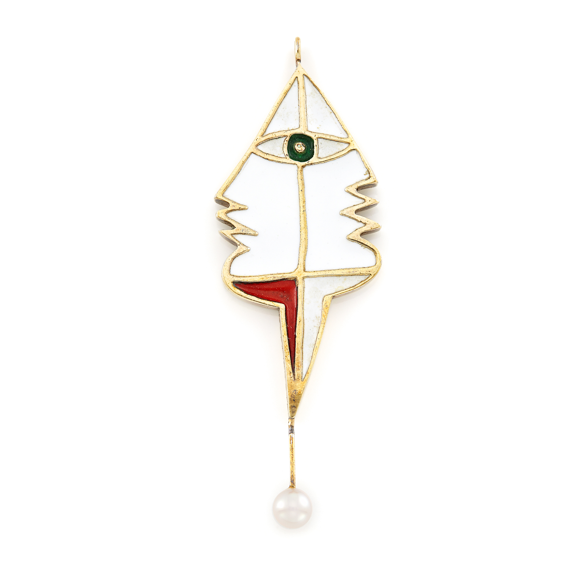 Lot image - Double-Sided Gold, Enamel and Cultured Pearl Pendant, Jean Cocteau