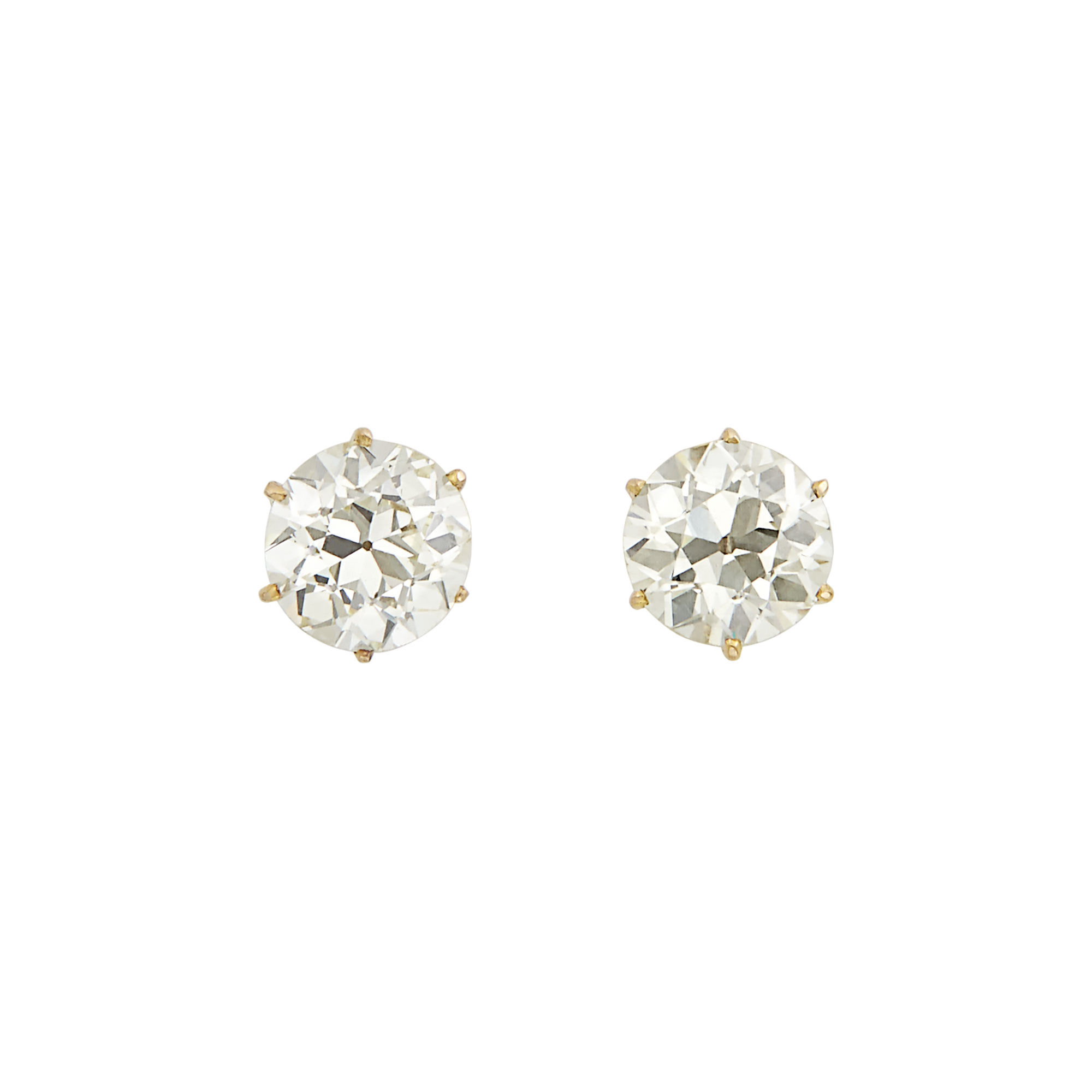 Lot image - Pair of Gold and Diamond Stud Earrings
