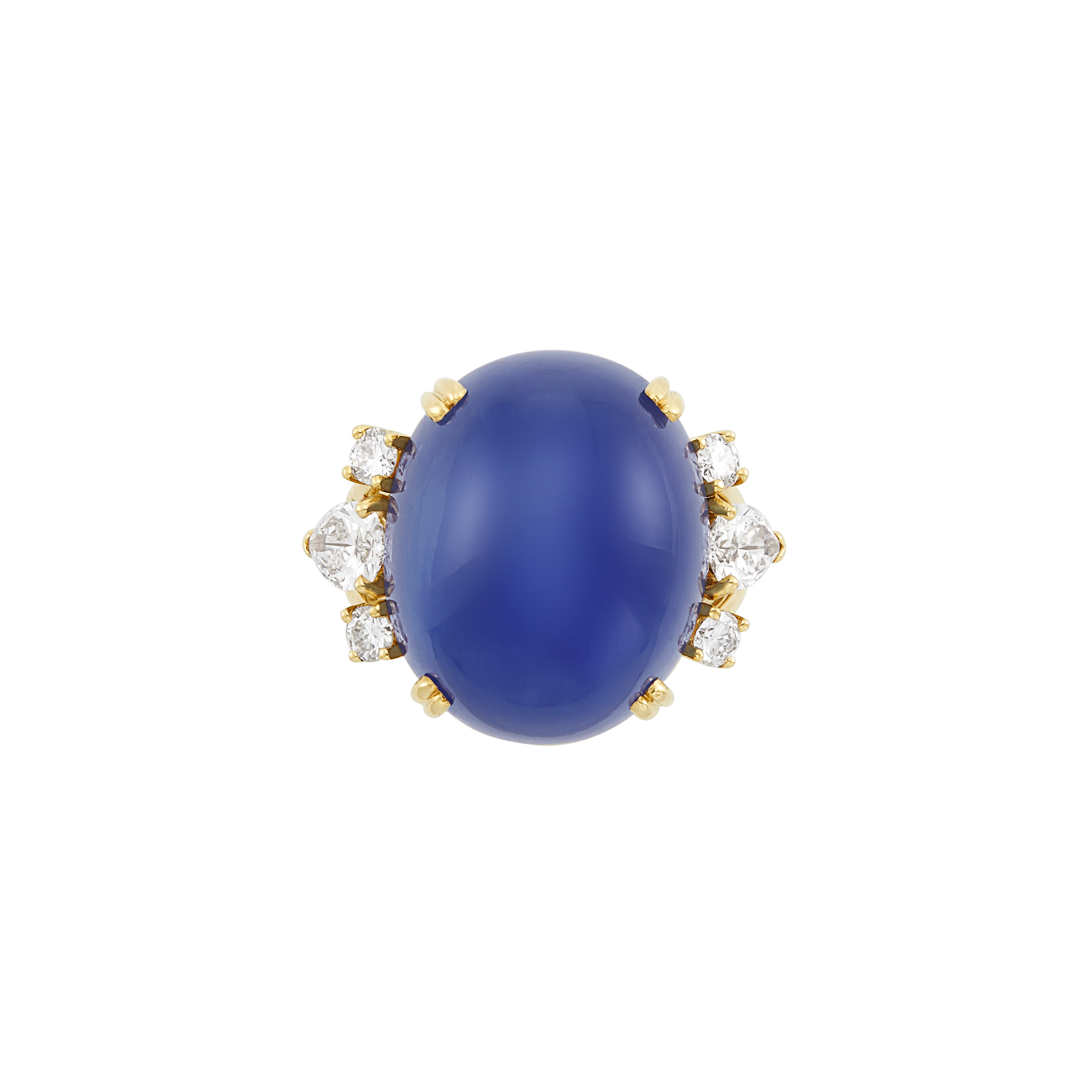 Lot image - Gold, Star Sapphire and Diamond Ring