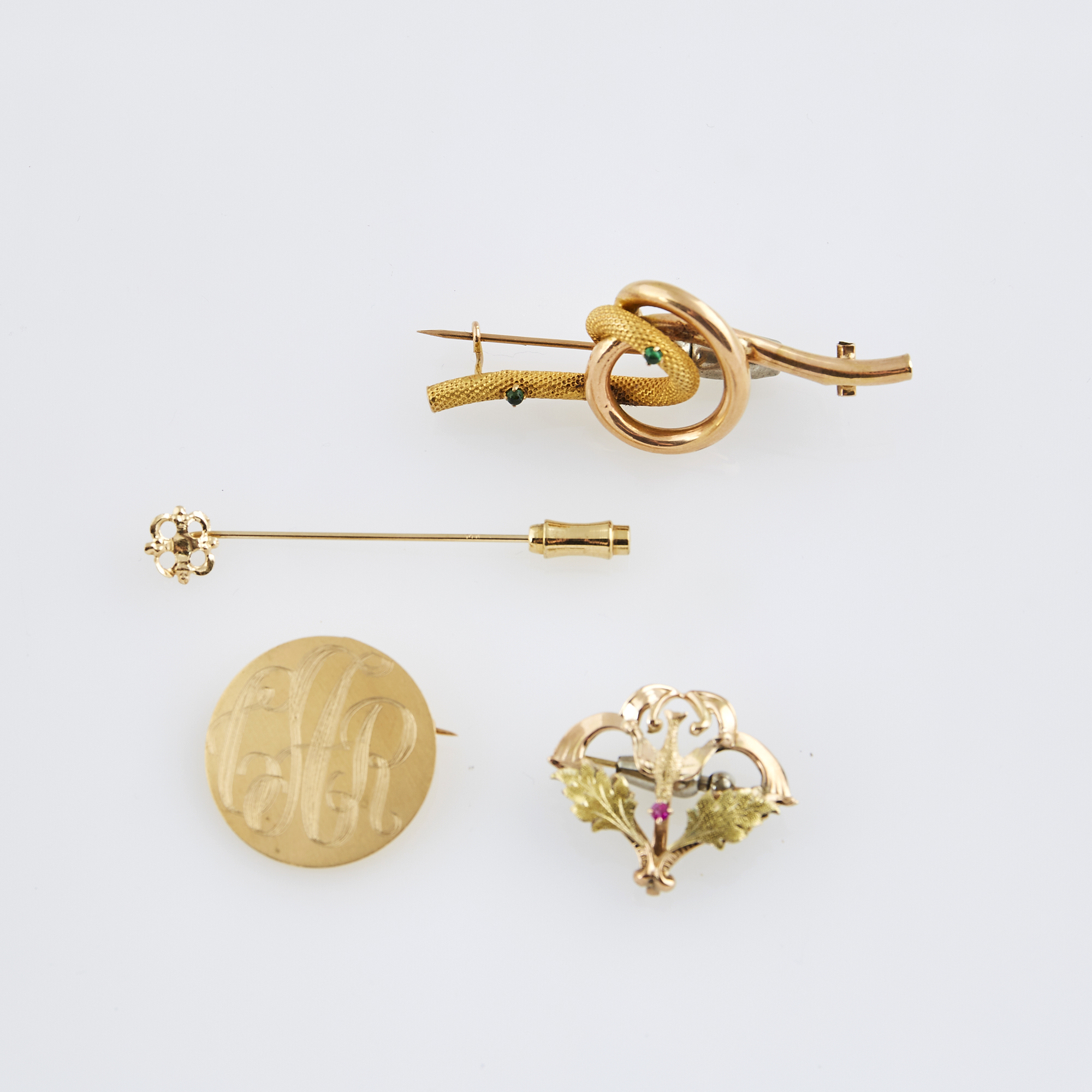 Lot image - Four Gold and Stone Pins, 14K 7 dwt. all