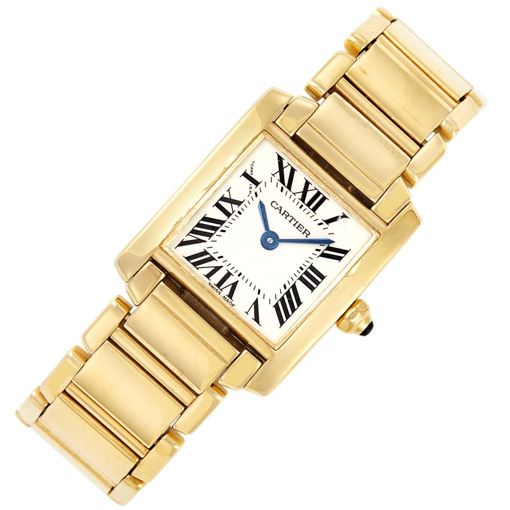 Lot image - Gold Tank Francaise Wristwatch, Cartier, Ref. 1820
