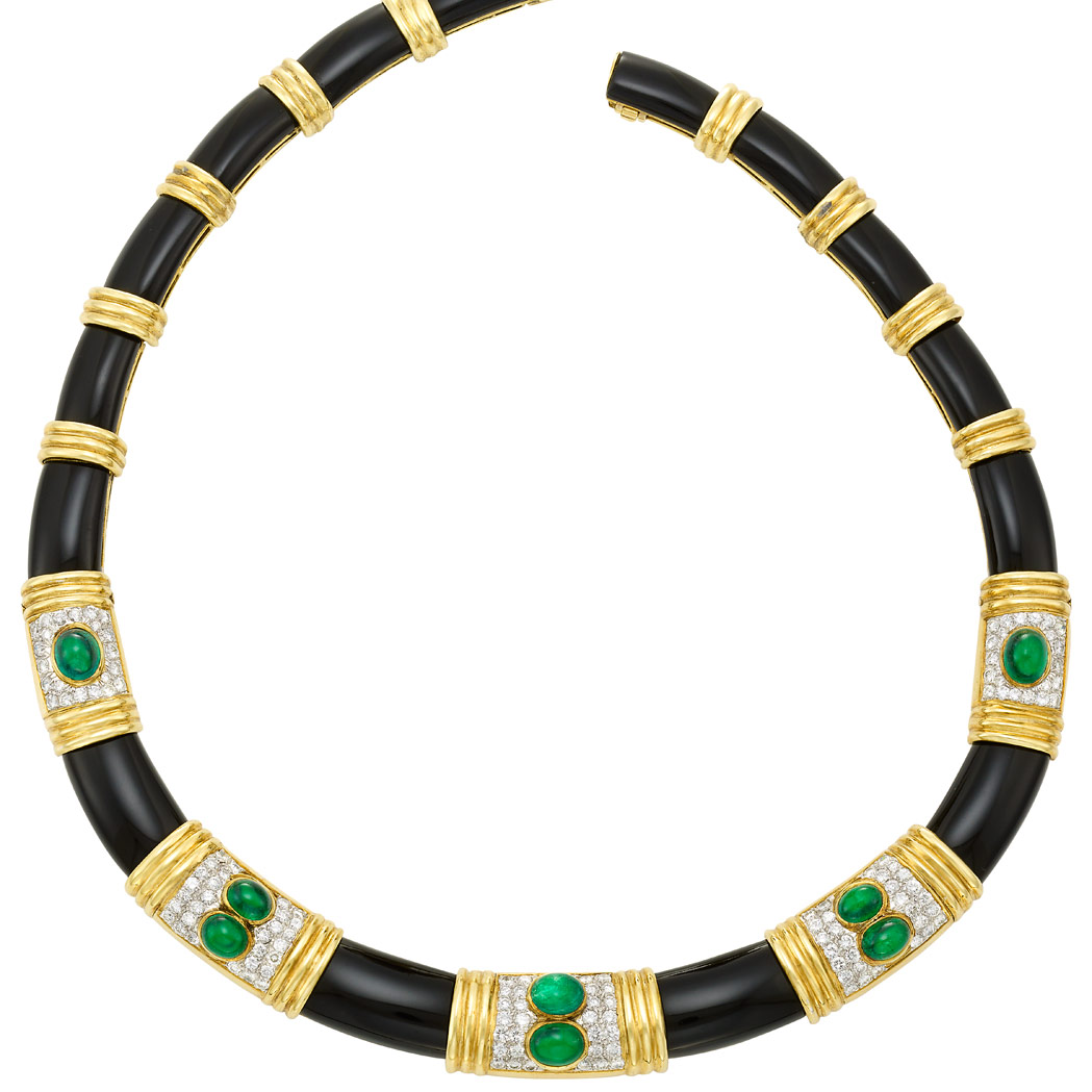 Lot image - Two-Color Gold, Black Onyx, Cabochon Emerald and Diamond Necklace