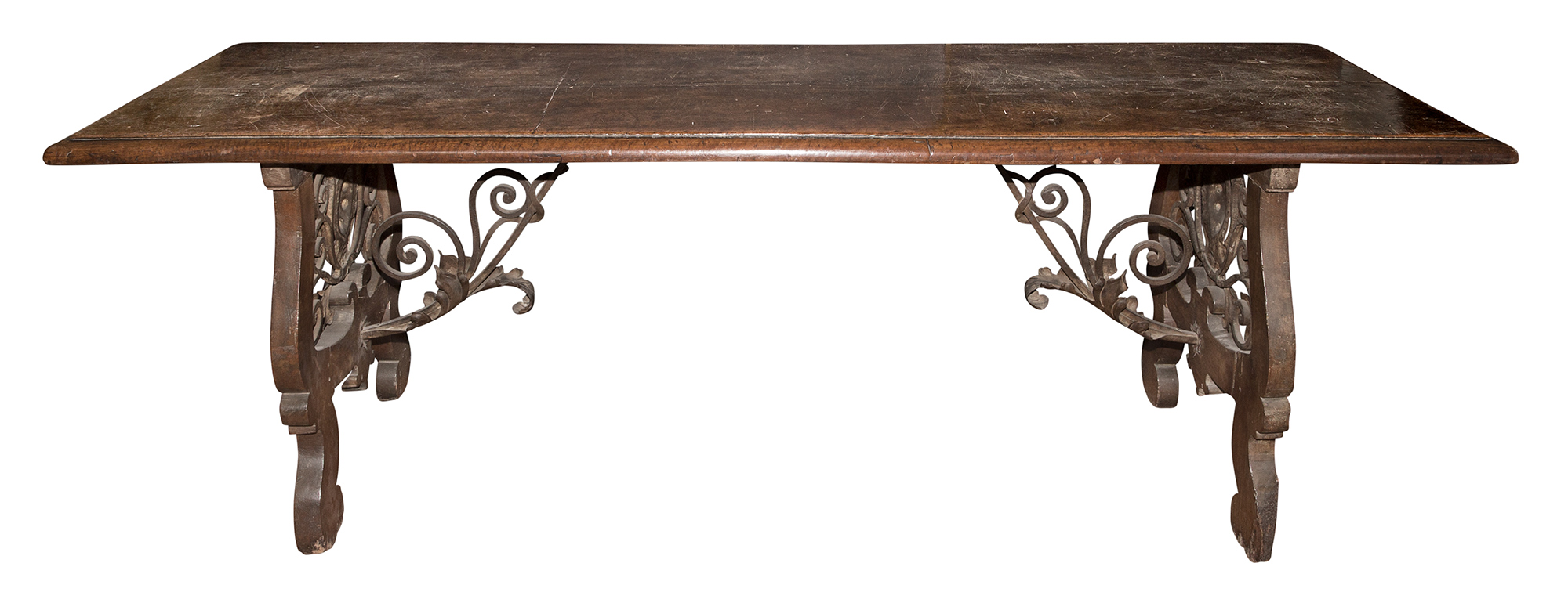 Lot image - Continental Walnut Trestle Table