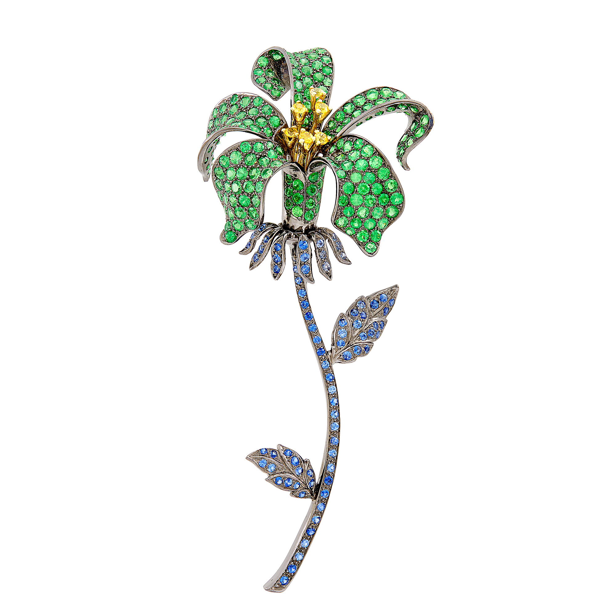 Lot image - Blackened Gold, Tsavorite Garnet, Sapphire and Yellow Sapphire Flower Clip-Brooch