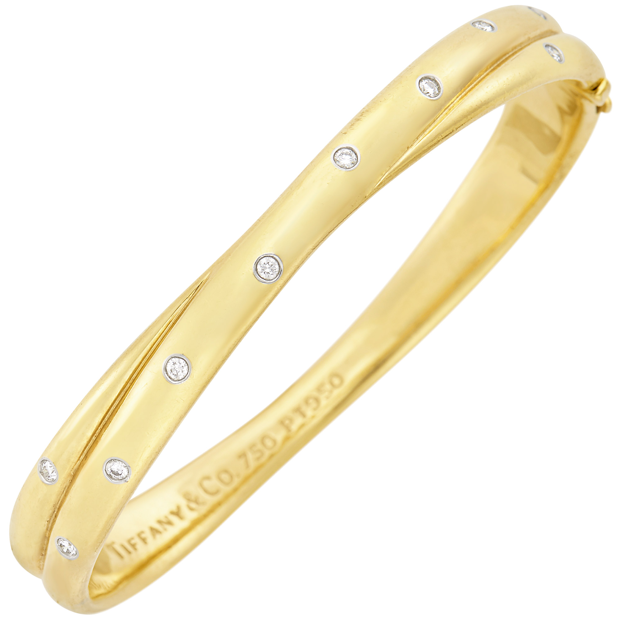 Lot image - Gold, Platinum and Diamond Etoile Bangle Bracelet, Tiffany & Co.