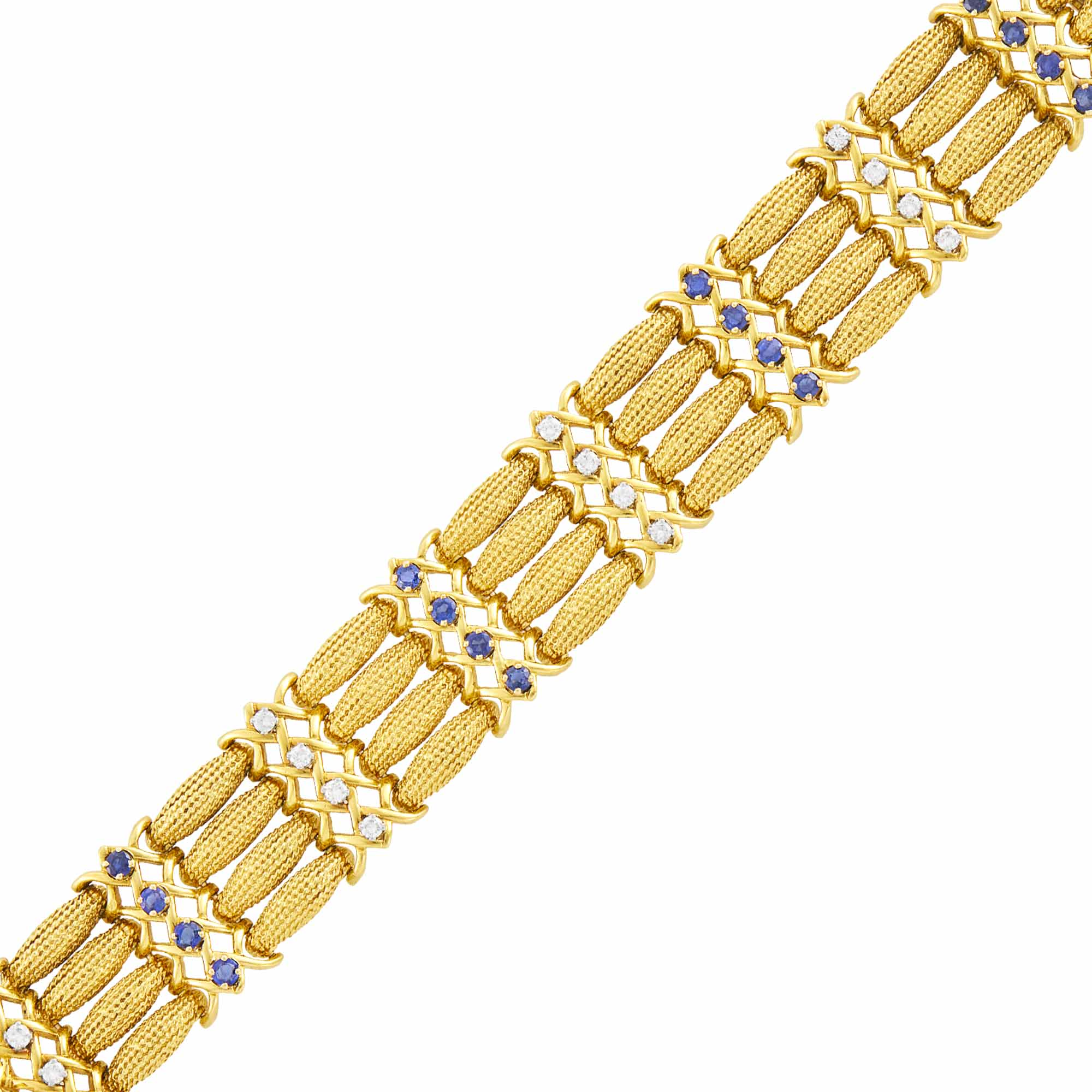 Lot image - Four Strand Gold, Diamond and Sapphire Link Bracelet