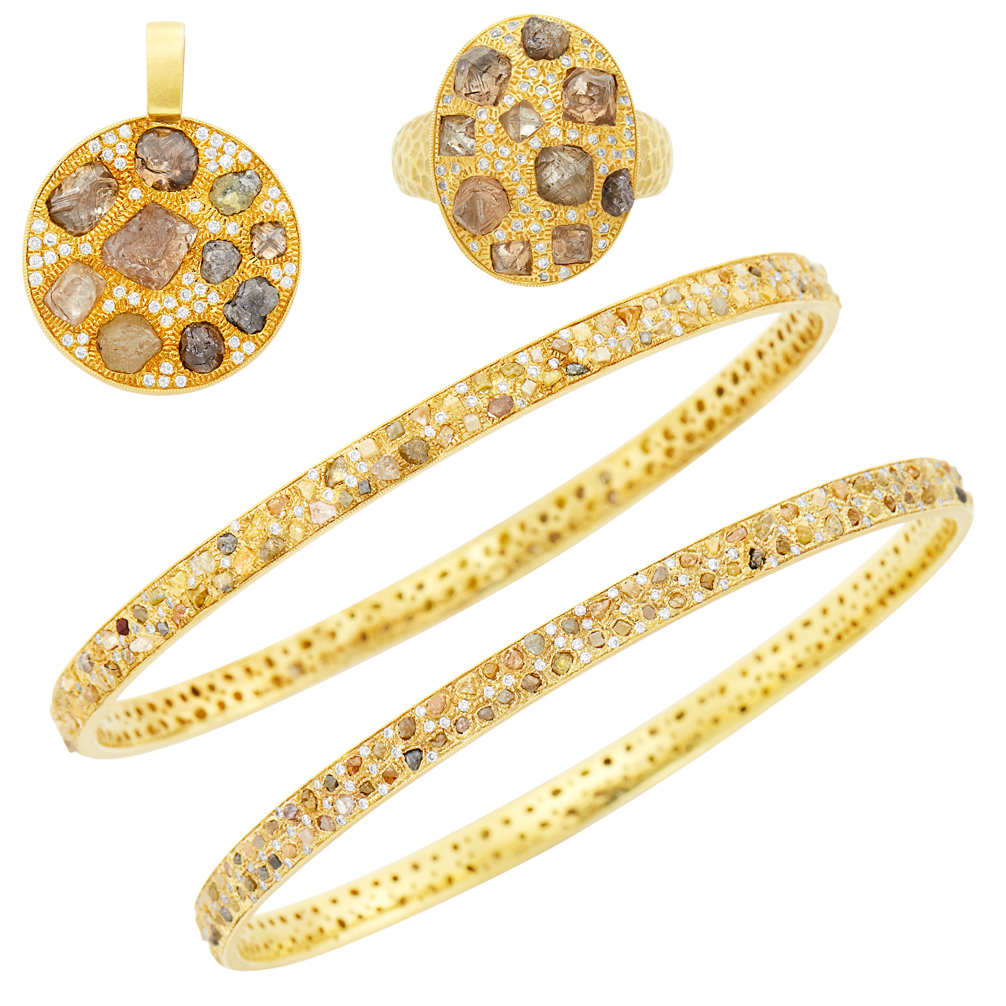 Lot image - Pair of Gold, Rough Diamond and Diamond Bangle Bracelets, Ring and Pendant
