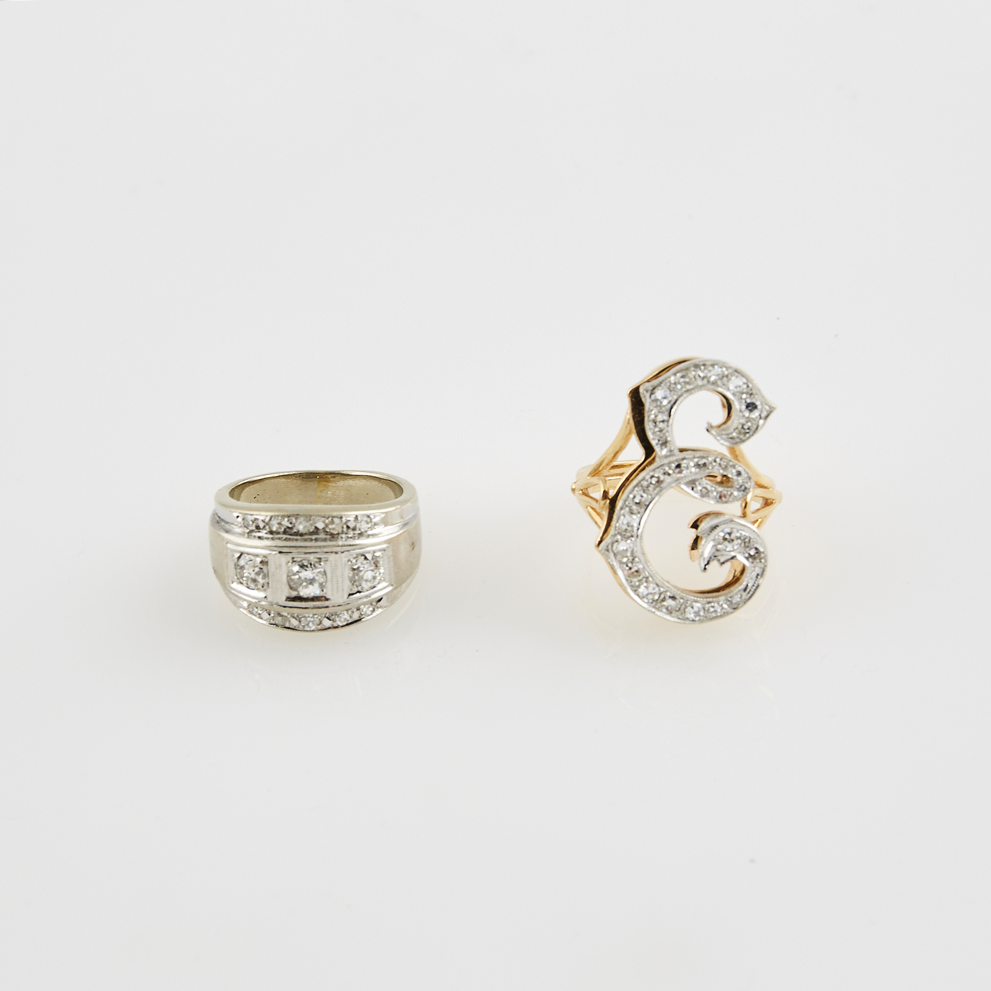 Lot image - Two Diamond Rings, 30 diamonds about 1.25 cts., 14K 11 dwt.