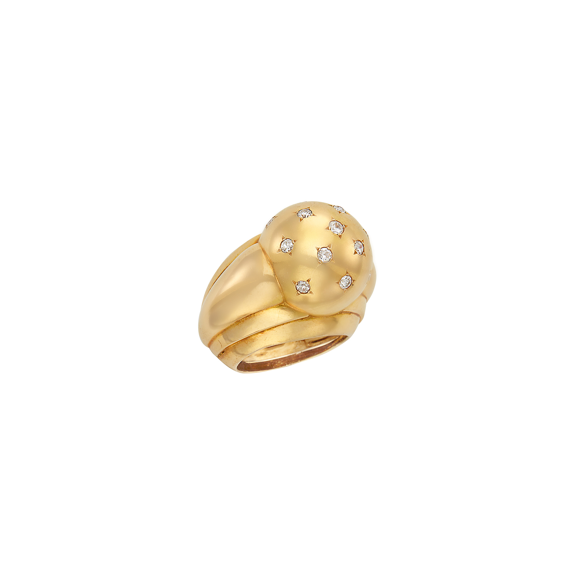 Lot image - Retro Gold and Diamond Ring, France