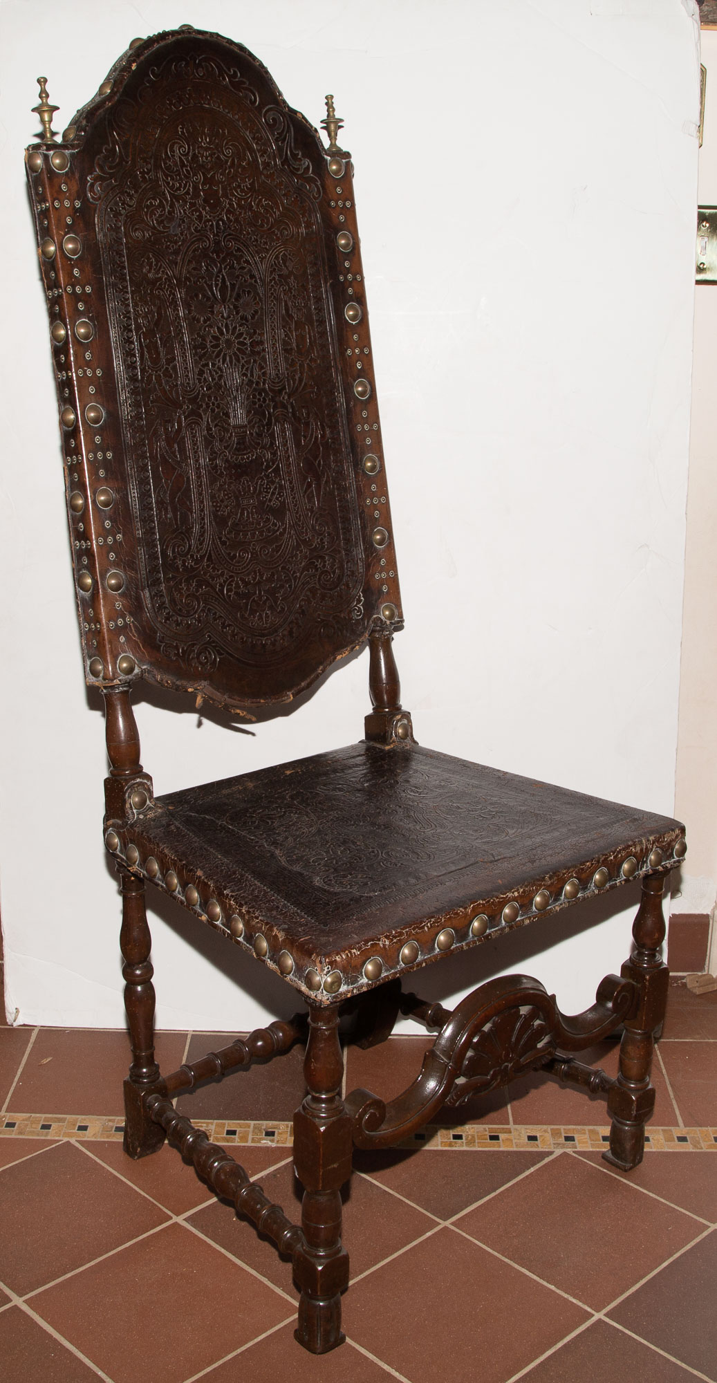 Lot image - Pair of Baroque Style Walnut and Tooled Leather Side Chairs