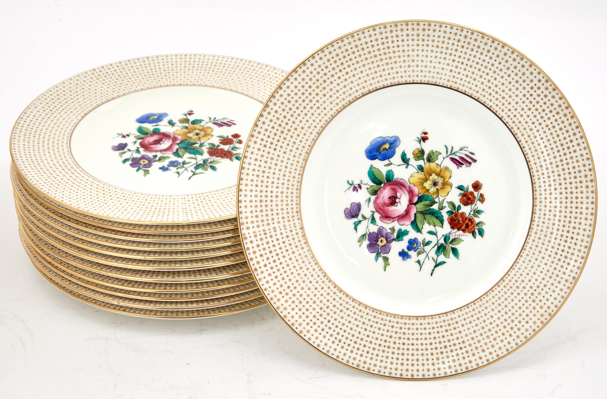 Lot image - Set of Twelve Cauldon Gilt and Floral Decorated Porcelain Dessert Plates