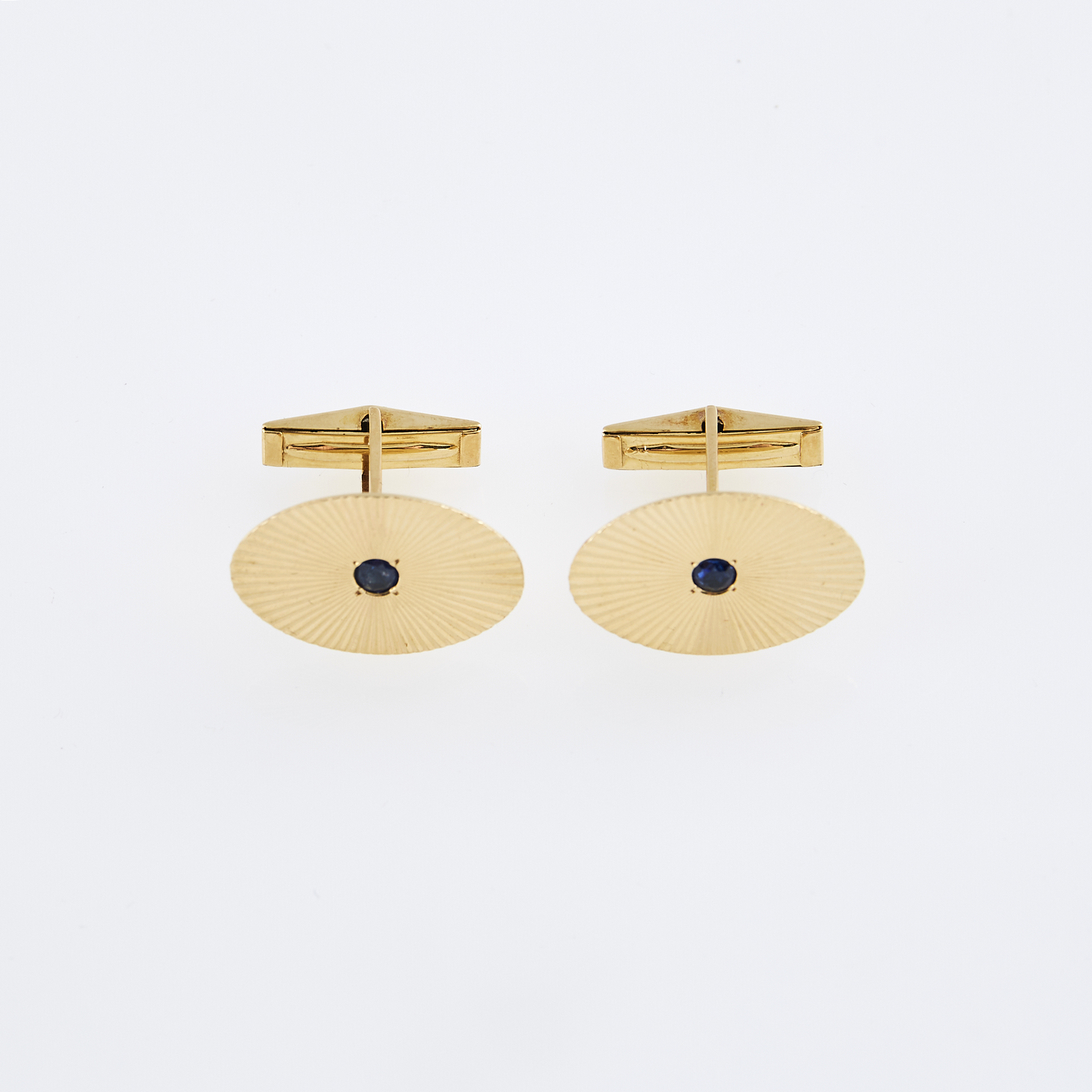 Lot image - Two Gold and Stone Cuff Links, 14K 5 dwt. all