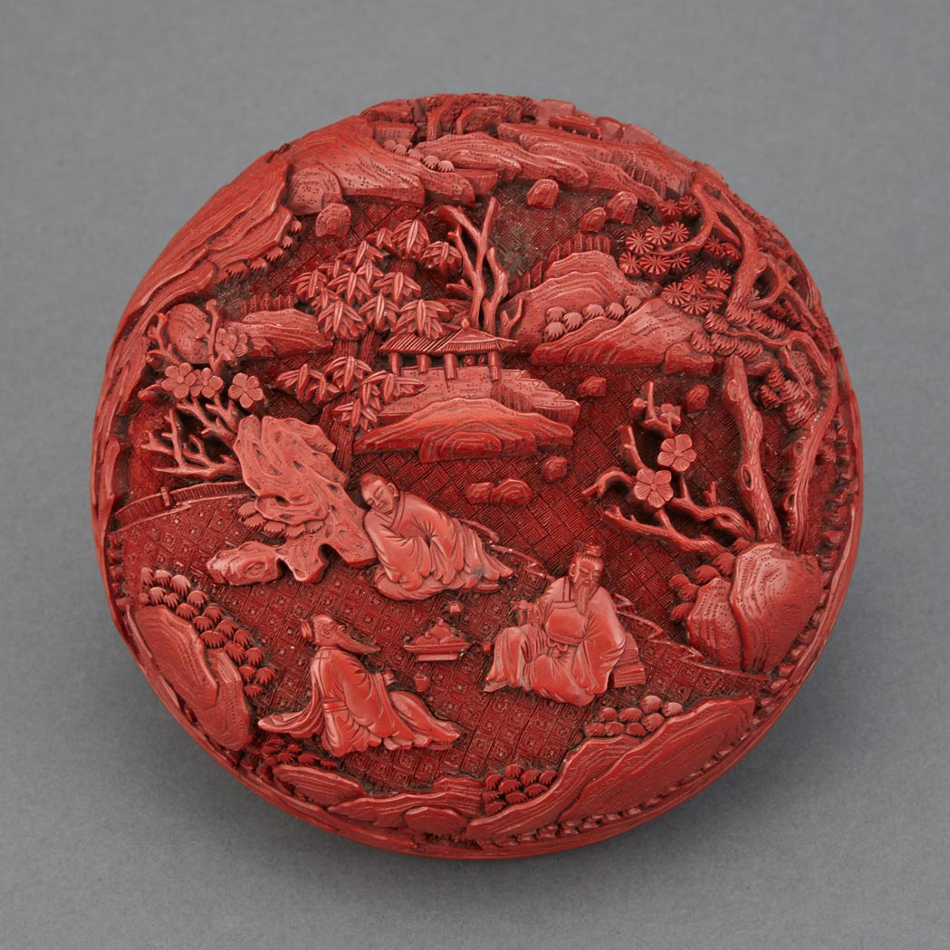 Lot image - Chinese Red Lacquer Covered Box