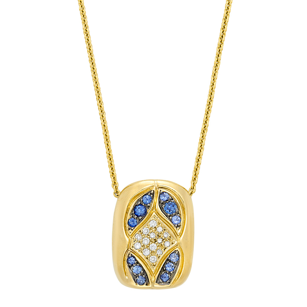 Lot image - Gold, Sapphire and Diamond Pendant-Necklace, Tenthio