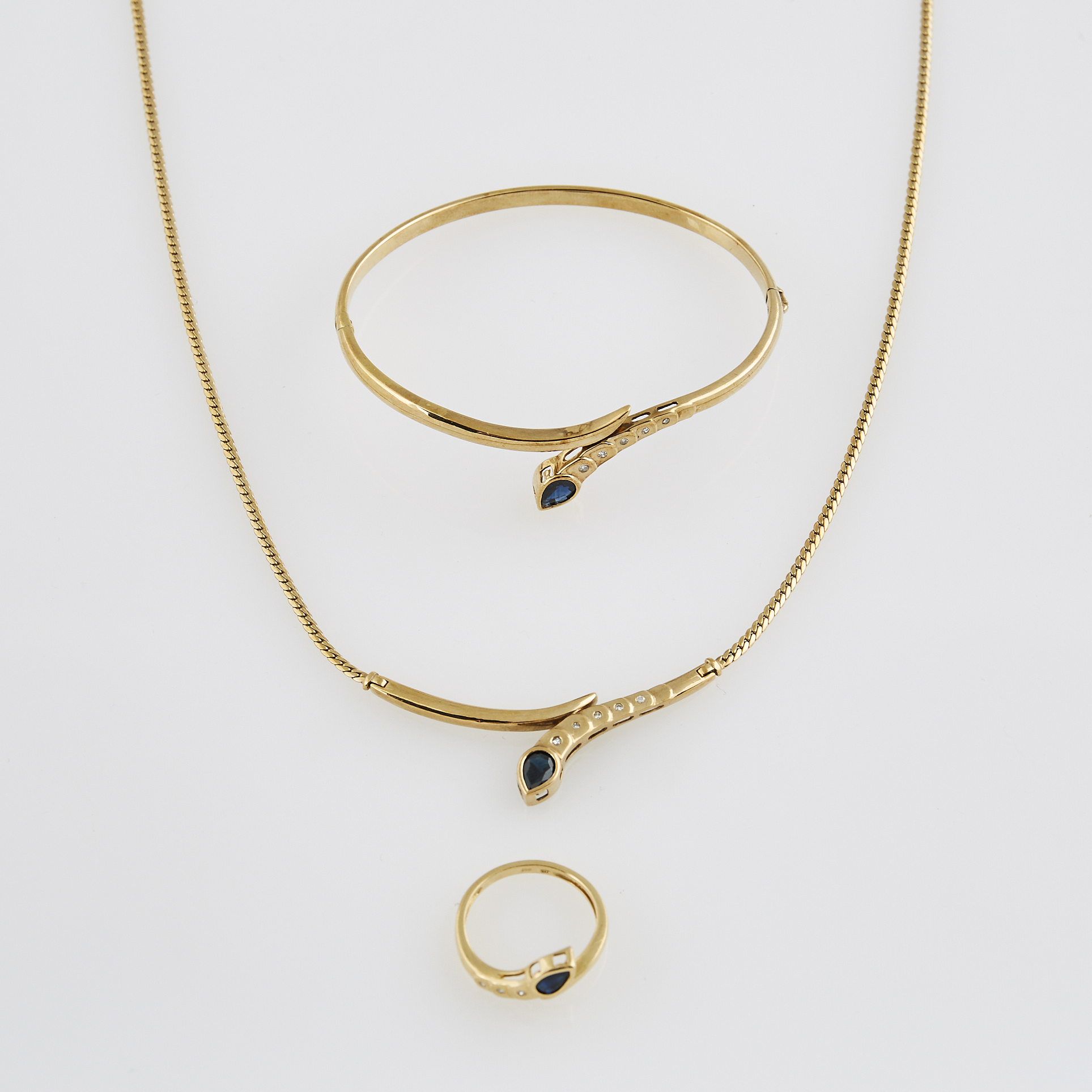 Lot image - Diamond and Stone Necklace, Rigid Bracelet and Ring, 14K 13 dwt. all